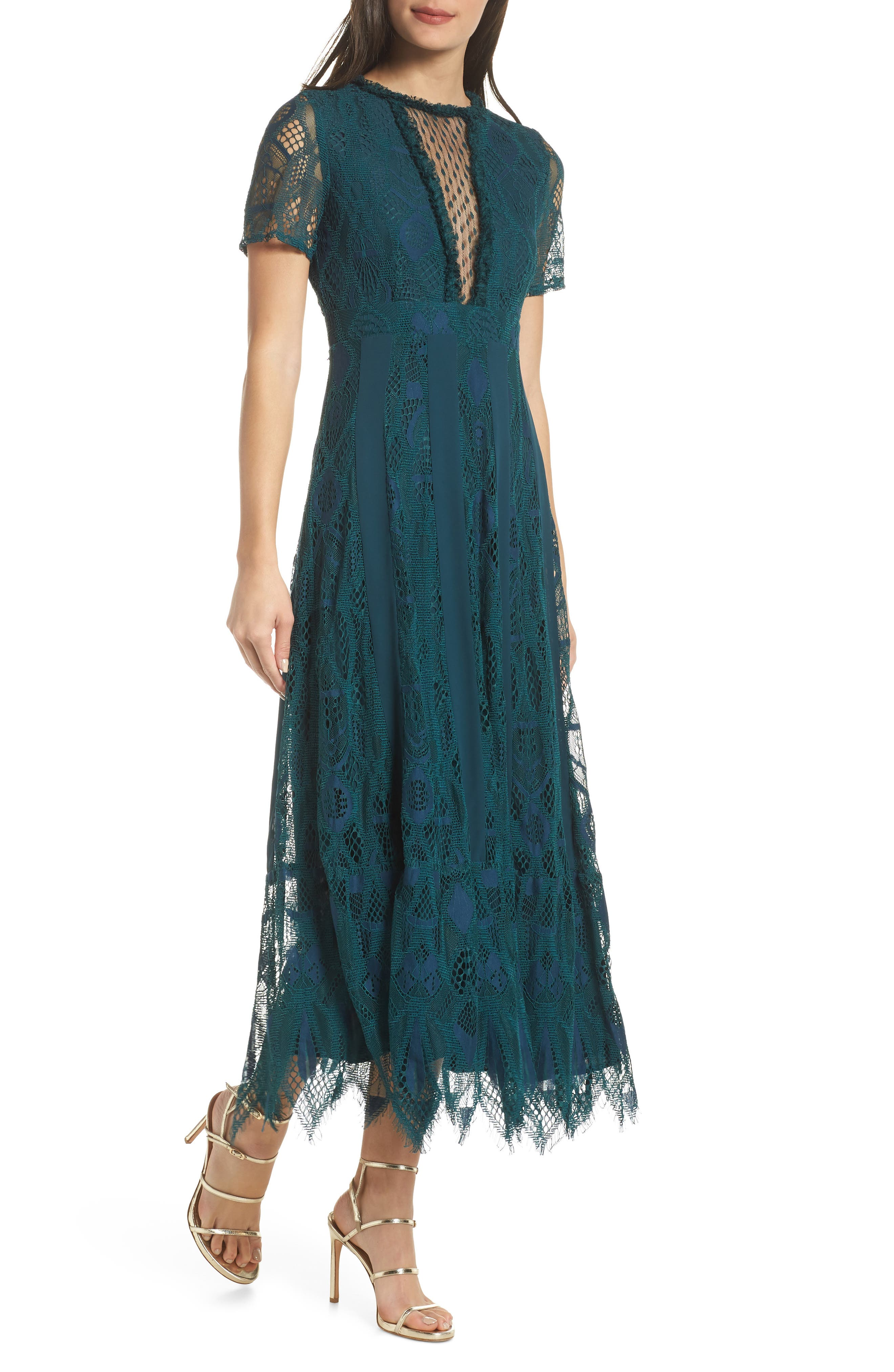 FOXIEDOX Fiona Lace Midi Dress in Tempo Teal