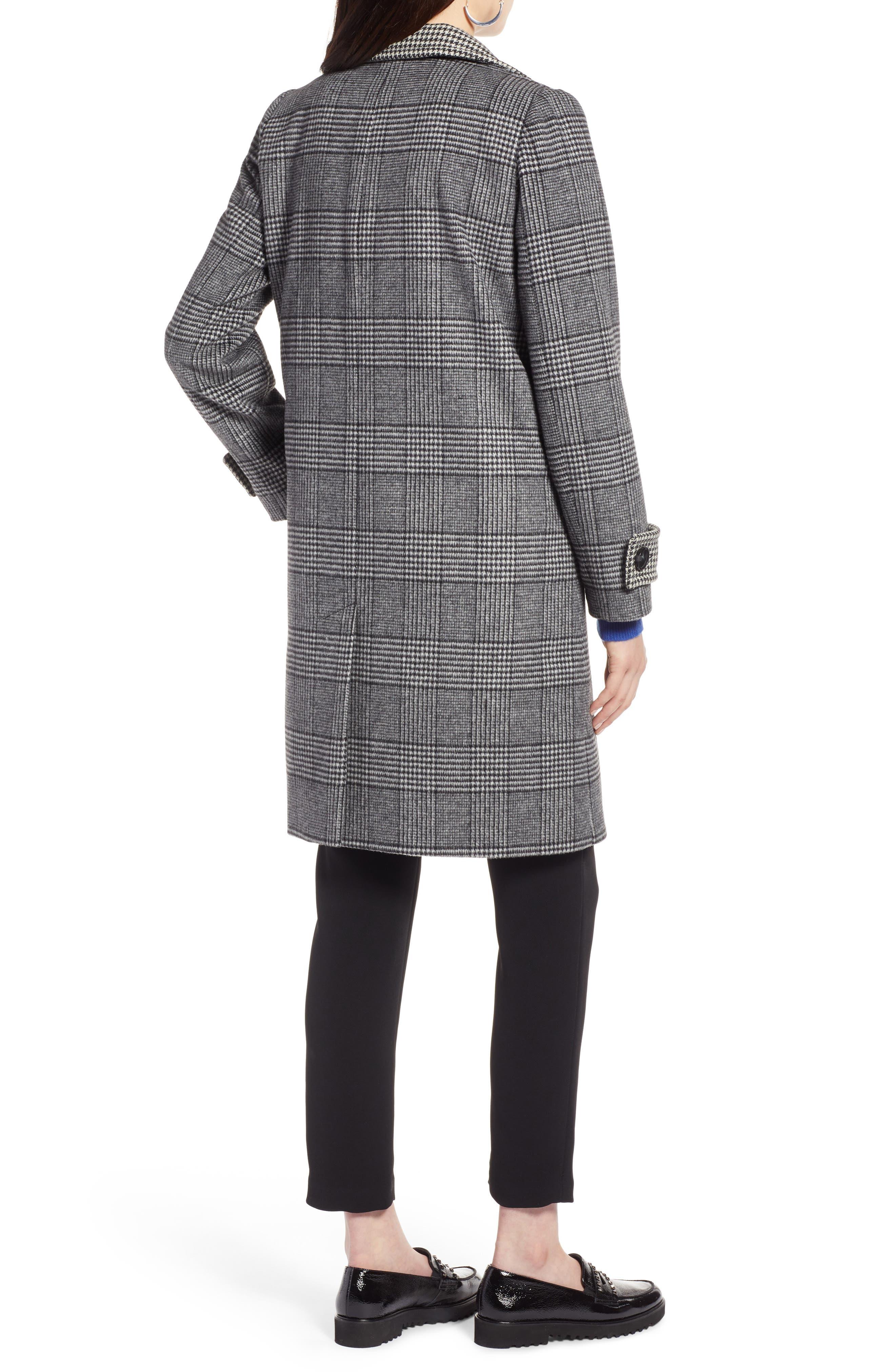 Plaid Mix Wool Coat,                             Alternate thumbnail 2, color,                             001