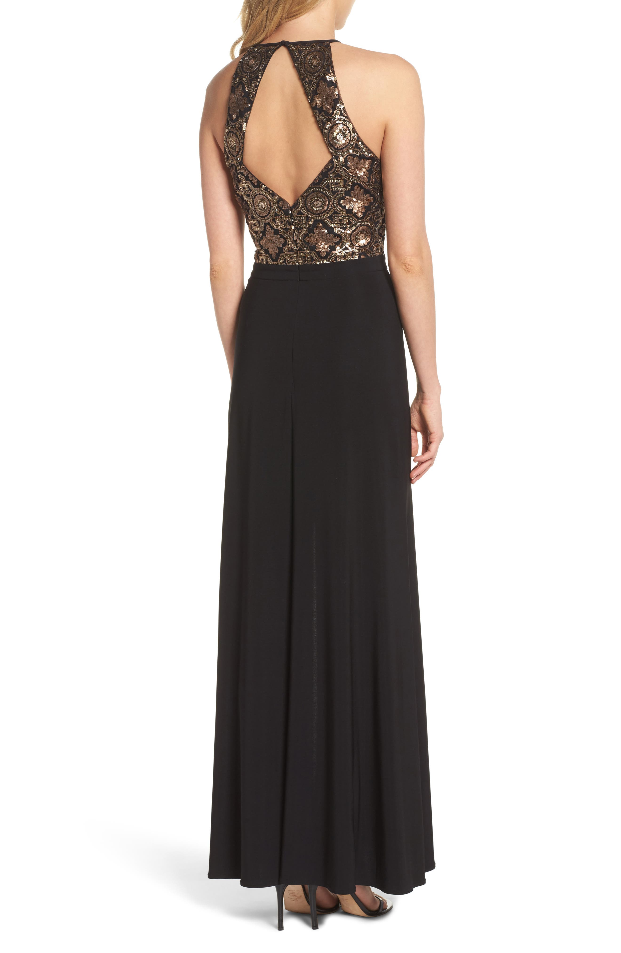 Sequin Cutout Bodice Gown,                             Alternate thumbnail 2, color,                             010