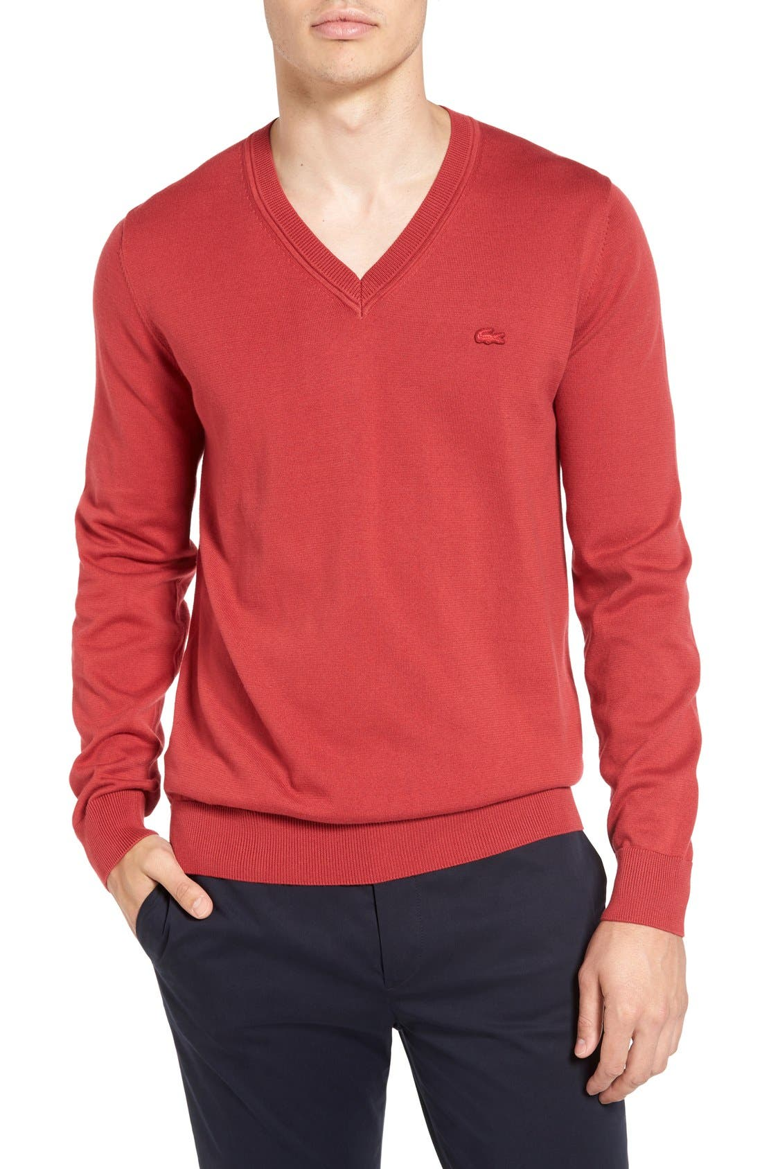 Cotton Jersey V-Neck Sweater,                             Main thumbnail 6, color,