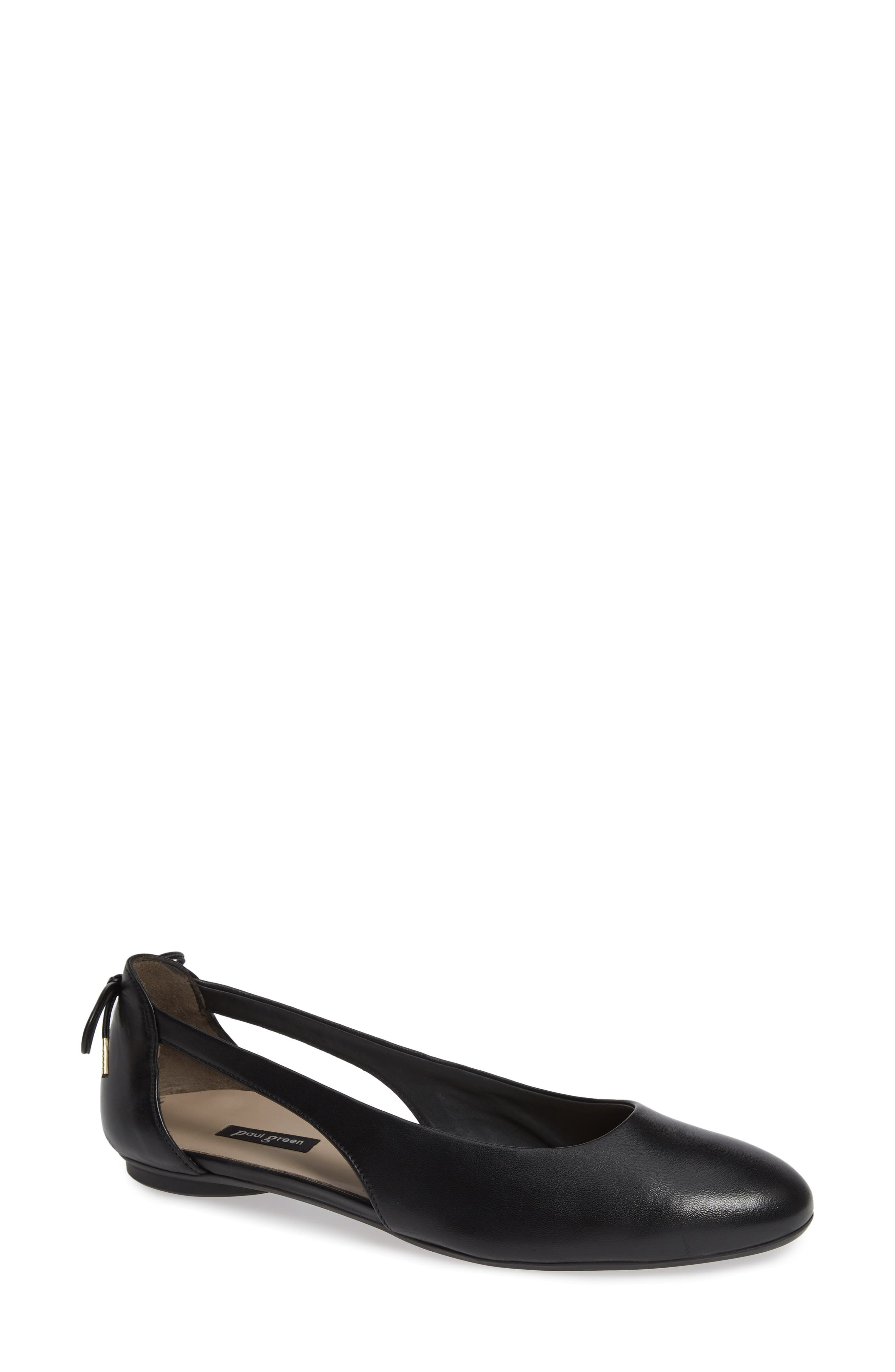 Maureen Cutout Flat,                         Main,                         color, BLACK LEATHER