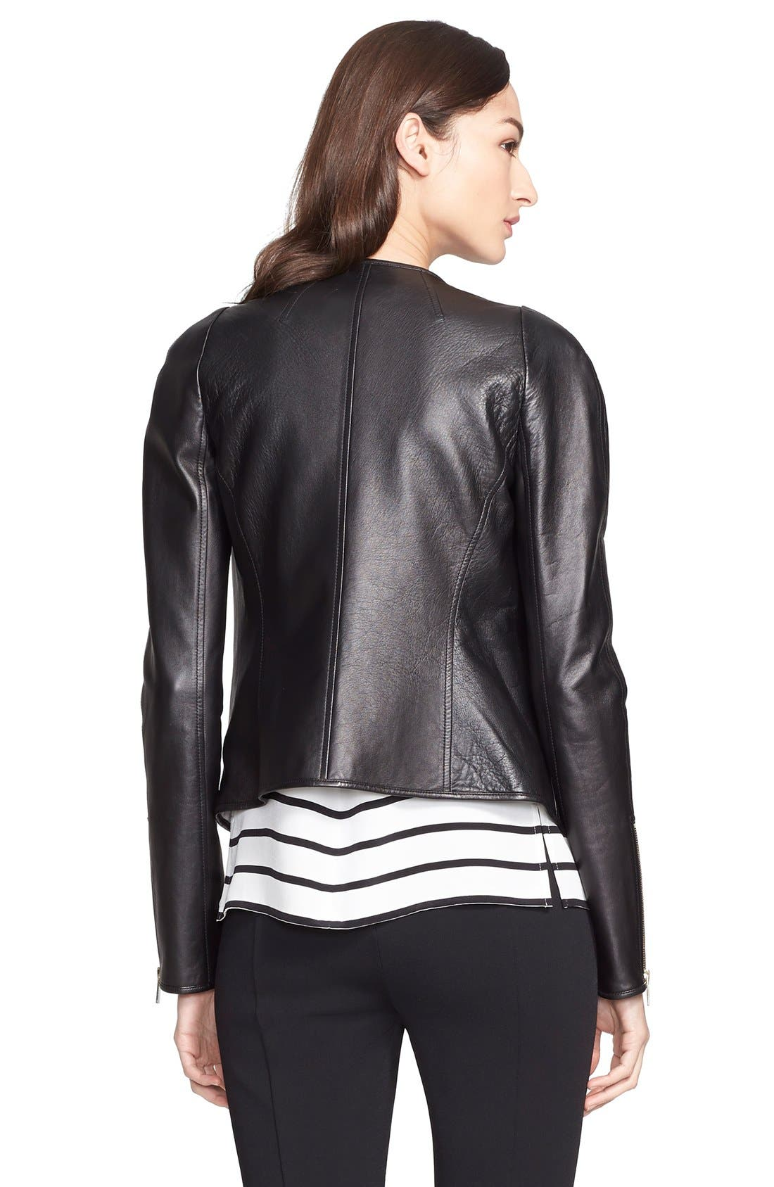 ST. JOHN COLLECTION,                             Nappa Leather Jacket with Stripe Lining,                             Alternate thumbnail 5, color,                             001