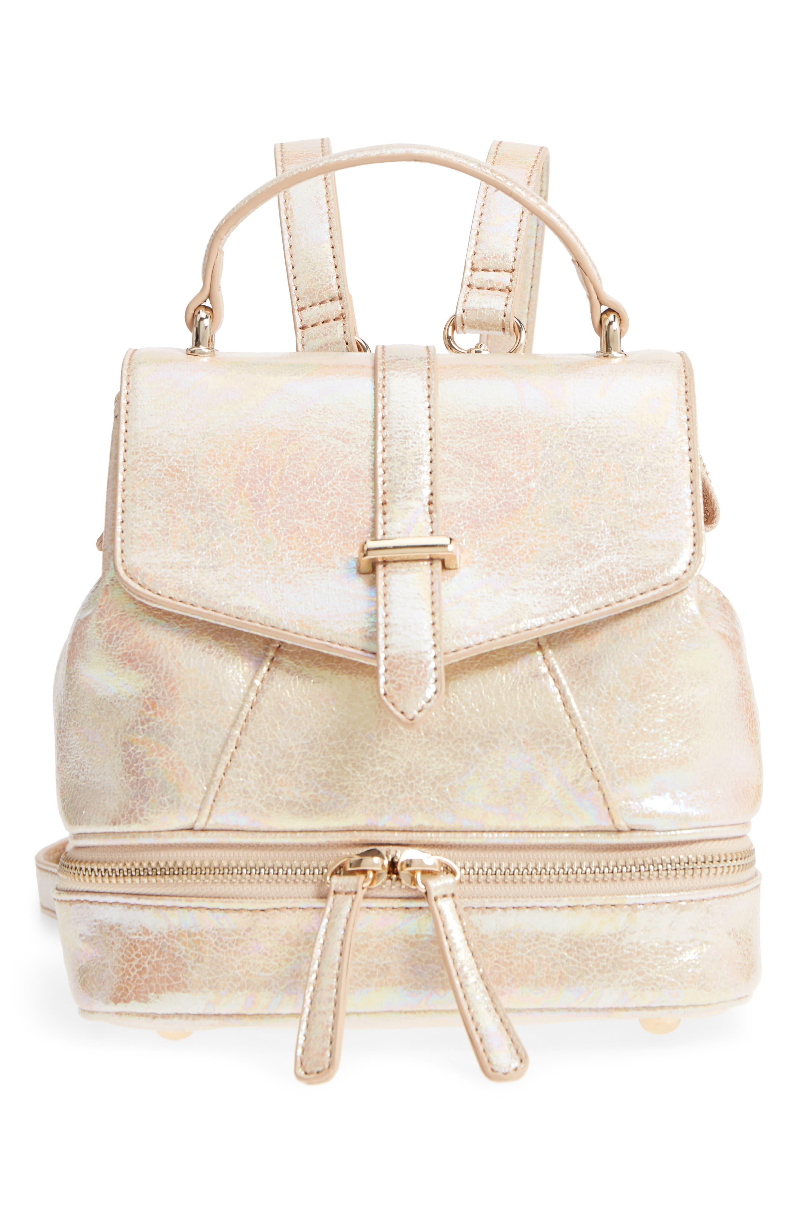 Mailbu Skye Oil Slick Faux Leather Backpack - Beige