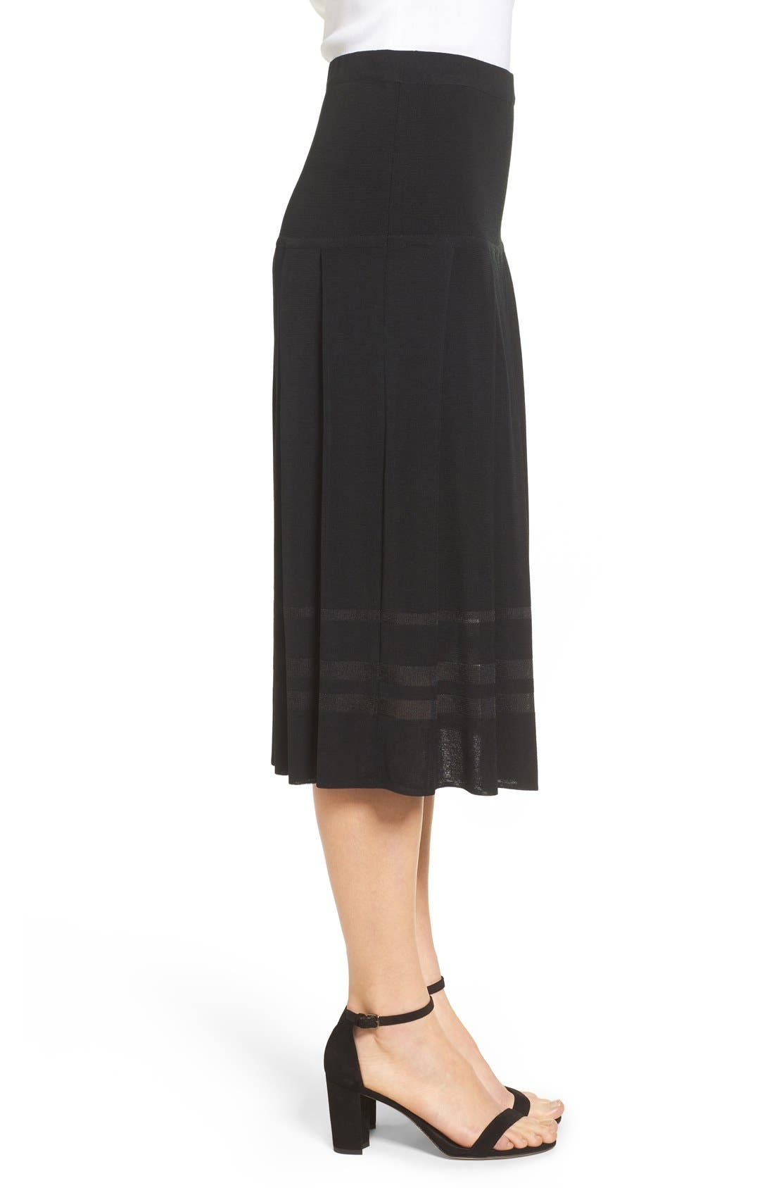 Pleated Midi Skirt,                             Alternate thumbnail 9, color,                             BLACK