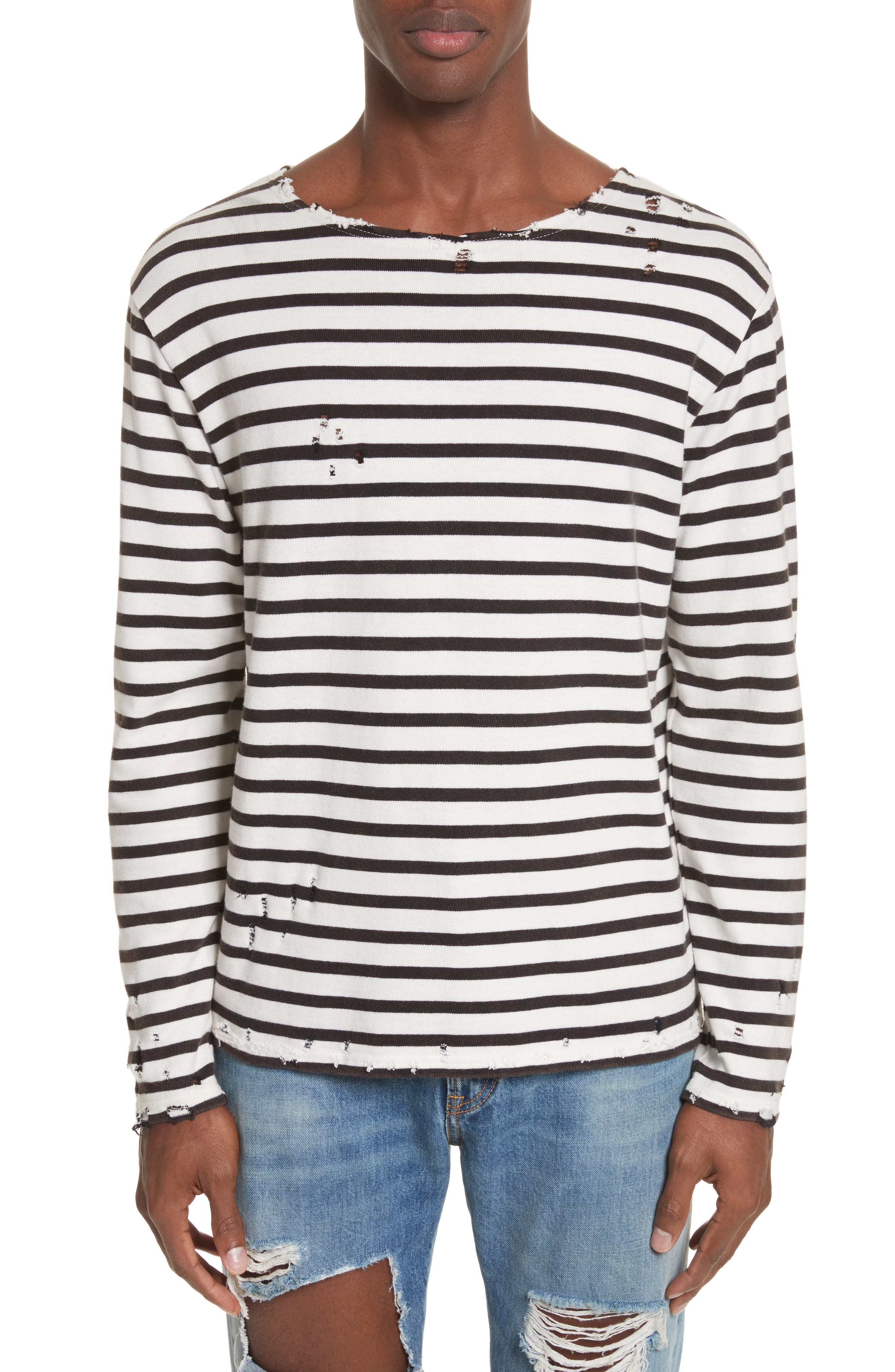 Distressed Stripe Long Sleeve T-Shirt,                             Main thumbnail 1, color,                             BLACK W/ ECRU