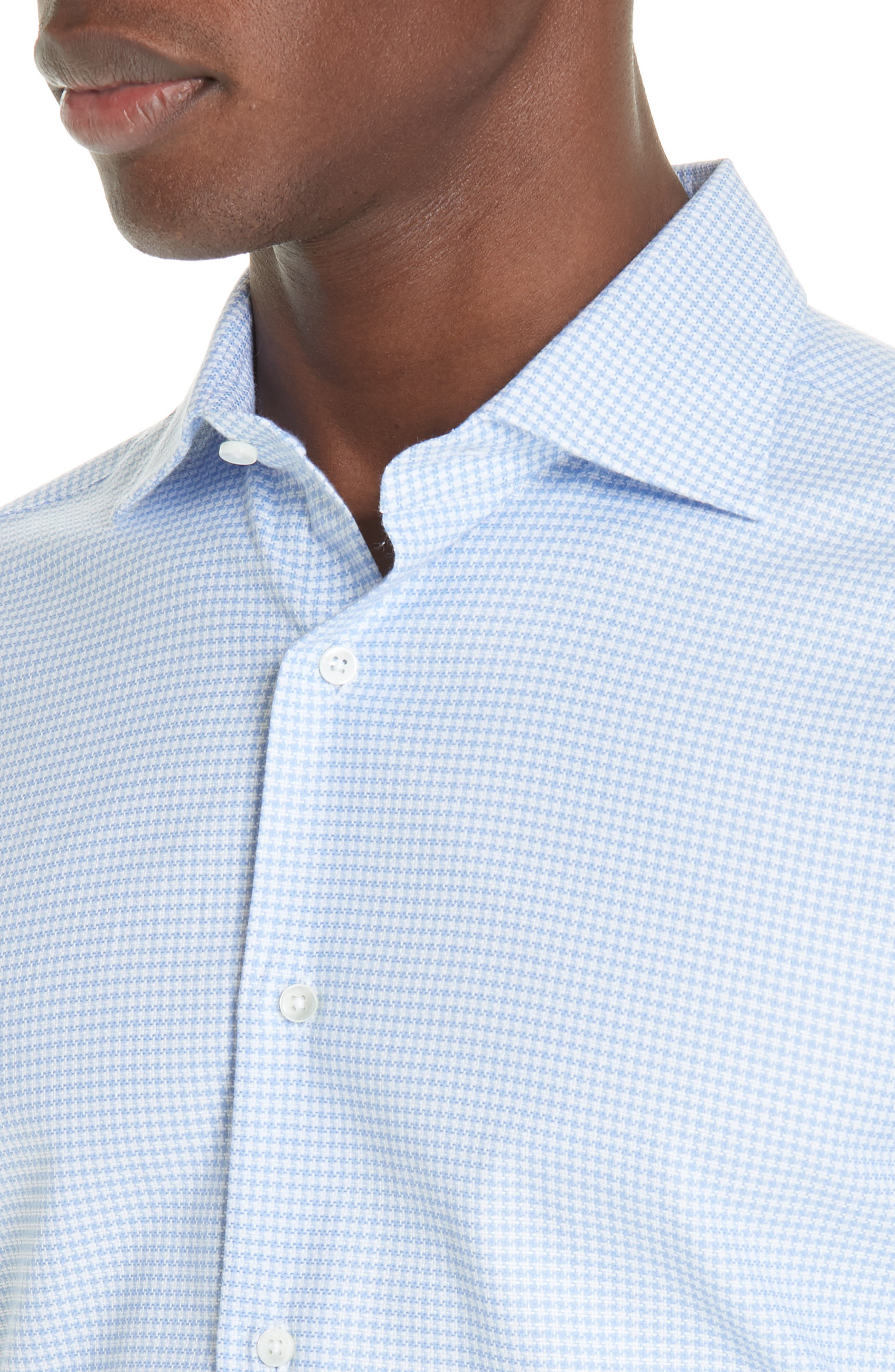 Trim Fit Houndstooth Dress Shirt,                             Alternate thumbnail 2, color,                             LIGHT BLUE