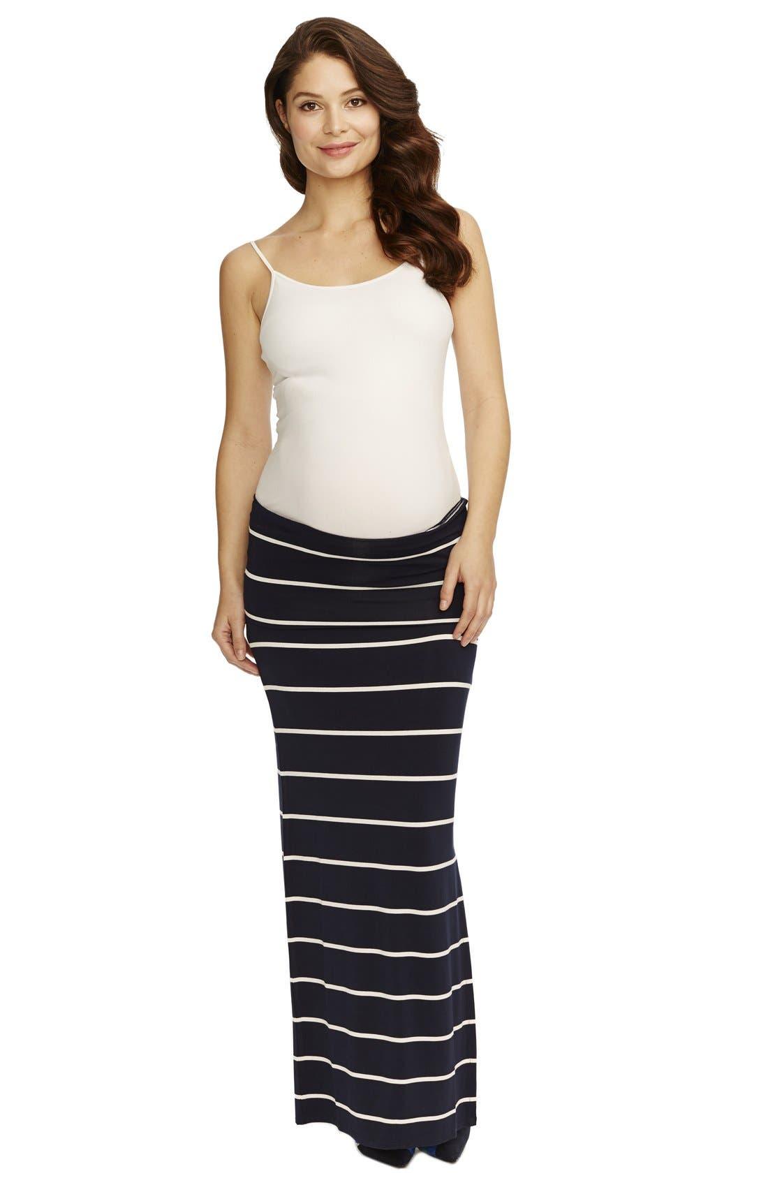 'Jessica' Stripe Maternity Maxi Skirt,                             Alternate thumbnail 2, color,                             NAVY WHITE STRIPE