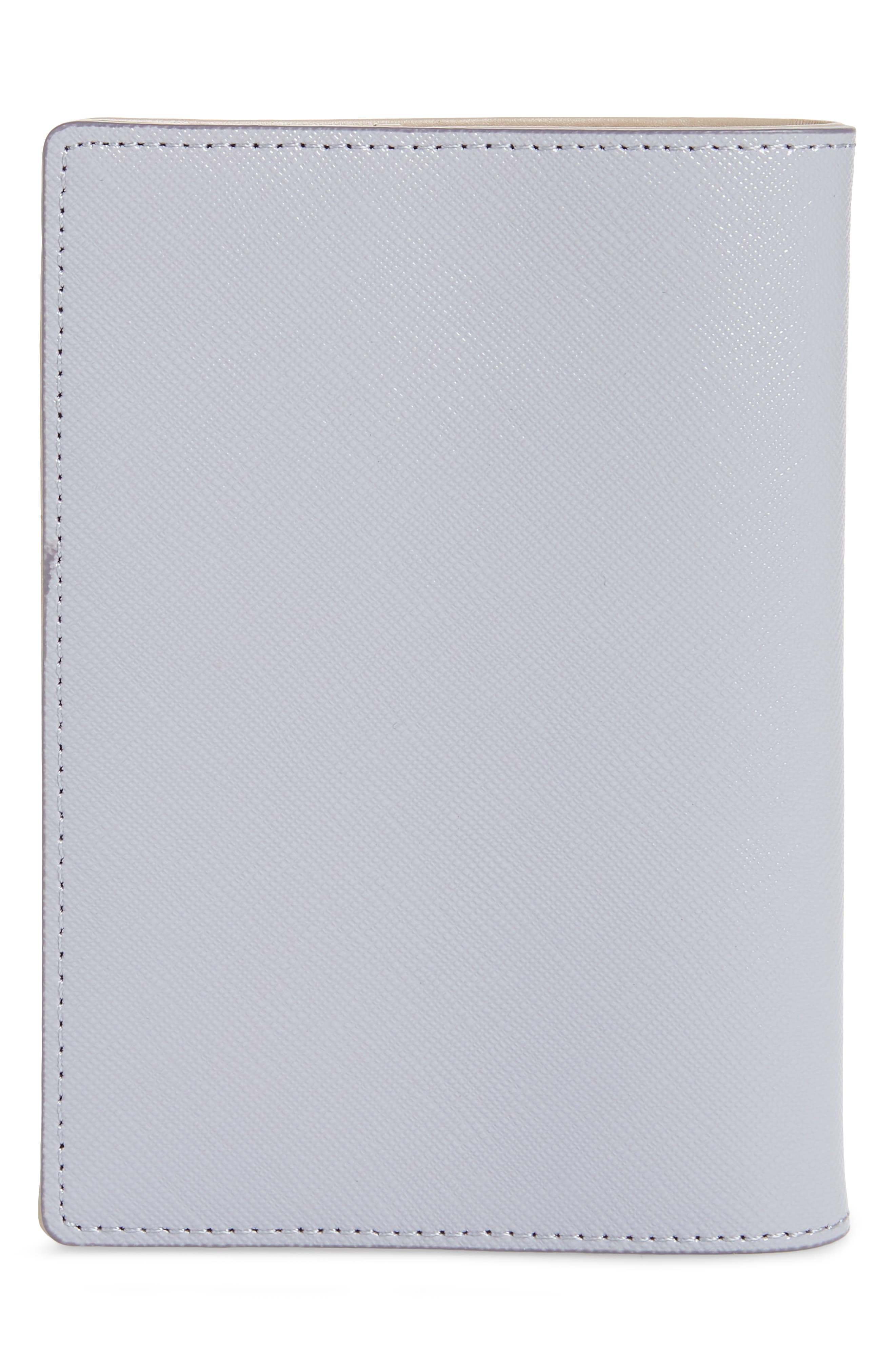 Saffiano Leather Passport Holder,                             Alternate thumbnail 4, color,                             GREY LILAC