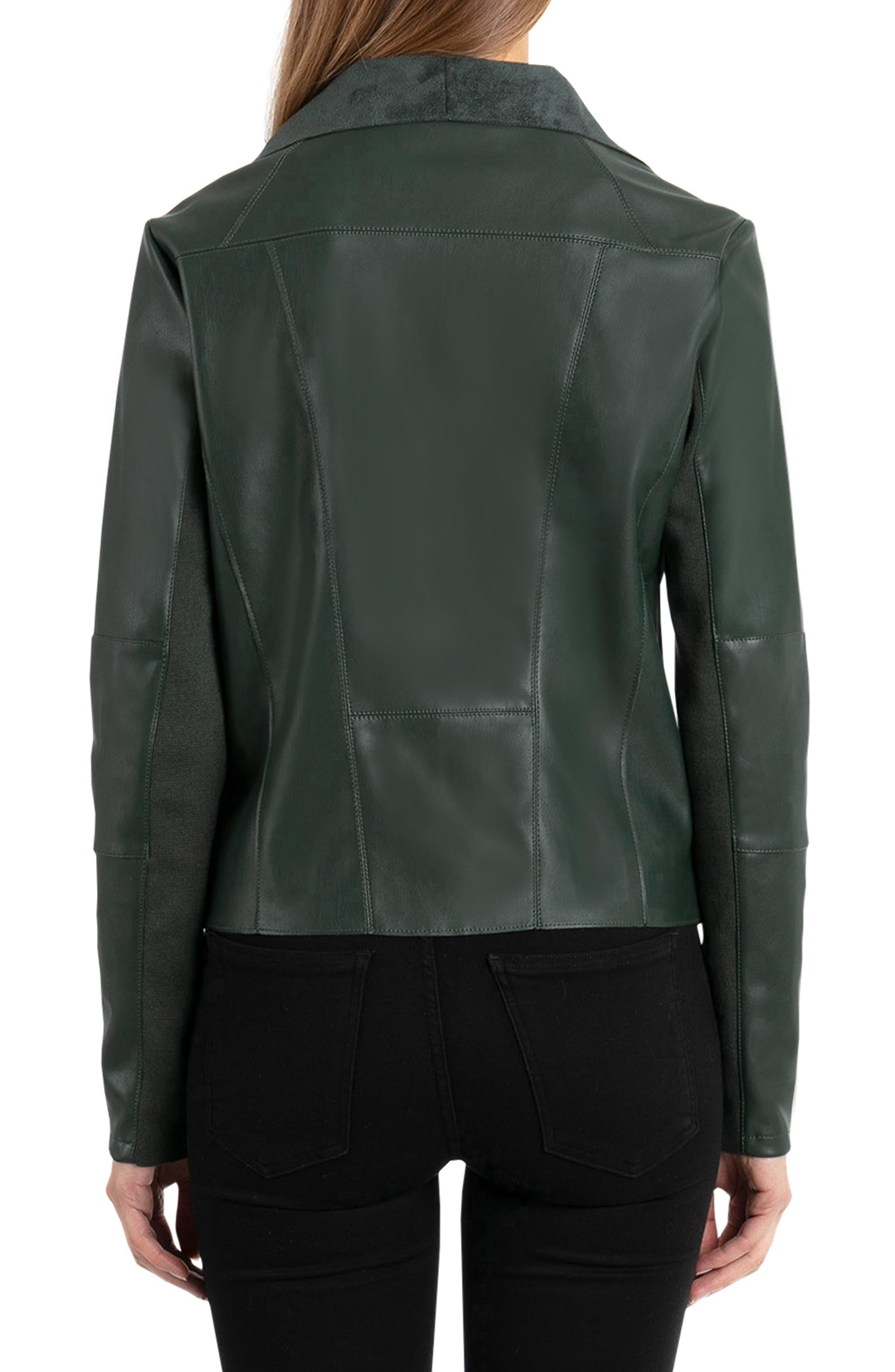 Drape Faux Leather & Faux Suede Jacket,                             Alternate thumbnail 2, color,                             EMERALD