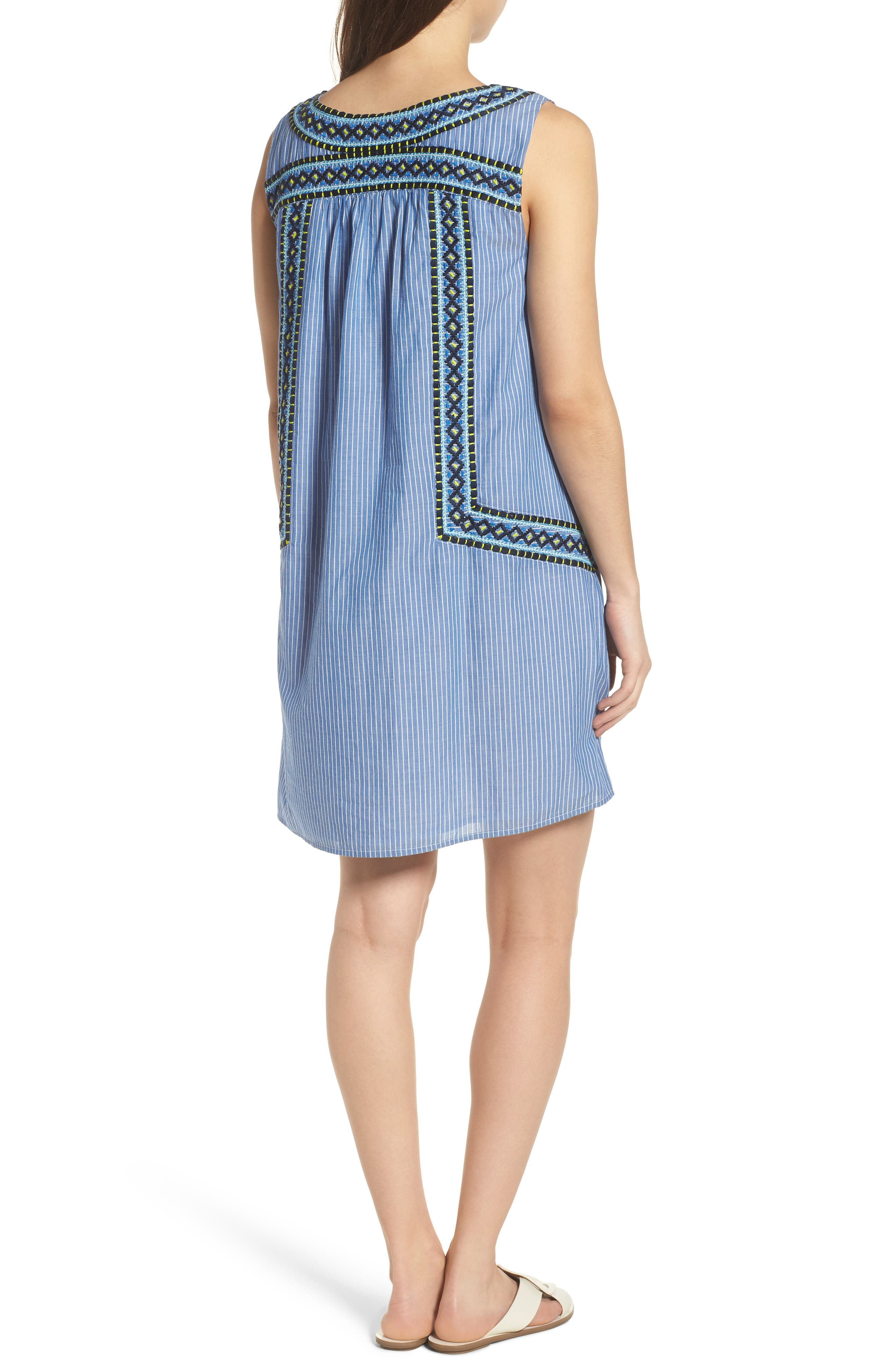 Embroidered Stripe Cotton Swing Dress,                             Alternate thumbnail 2, color,
