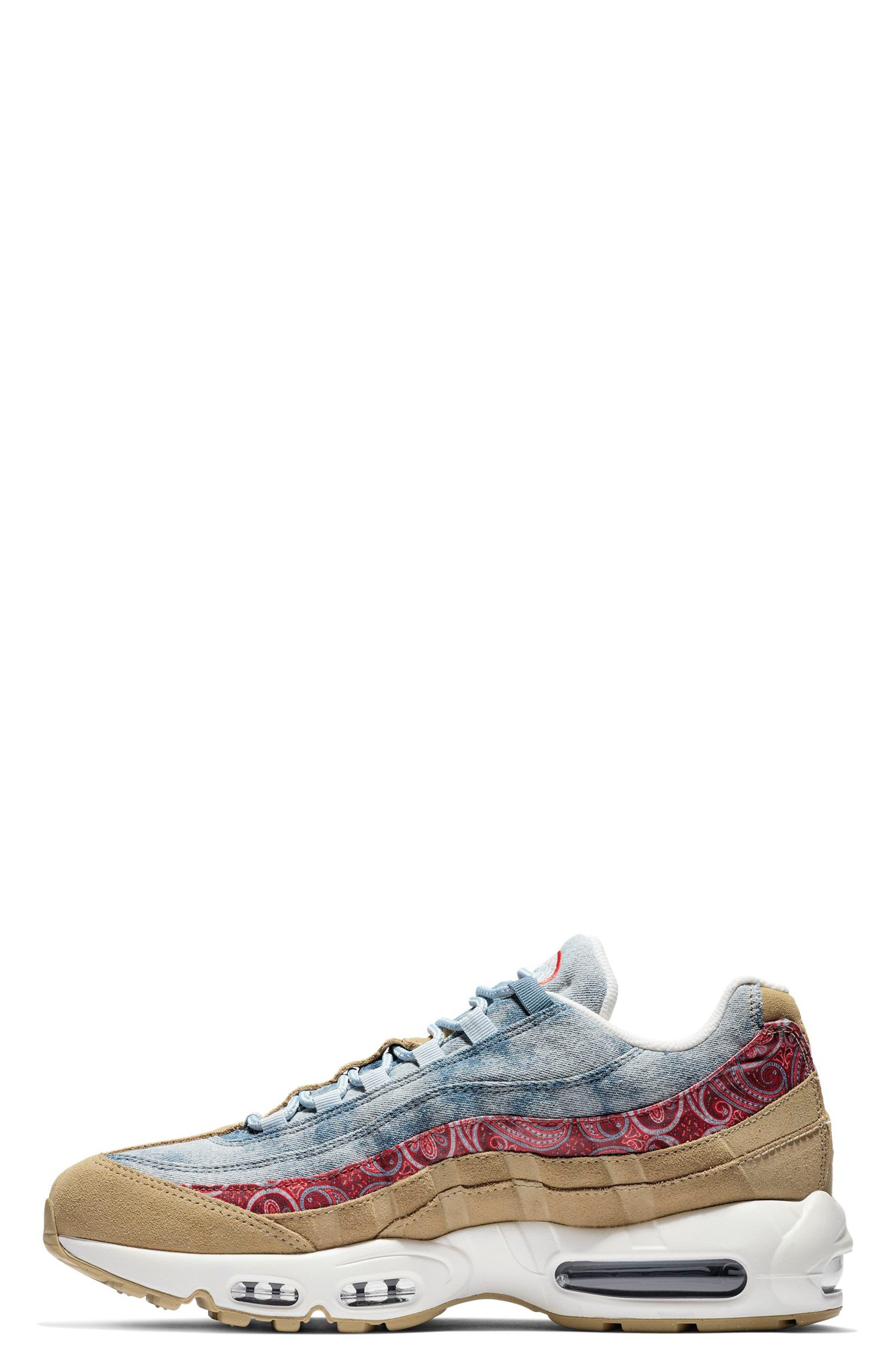 Air Max 95 Sneaker,                             Alternate thumbnail 3, color,                             PARACHUTE BEIGE/ RED