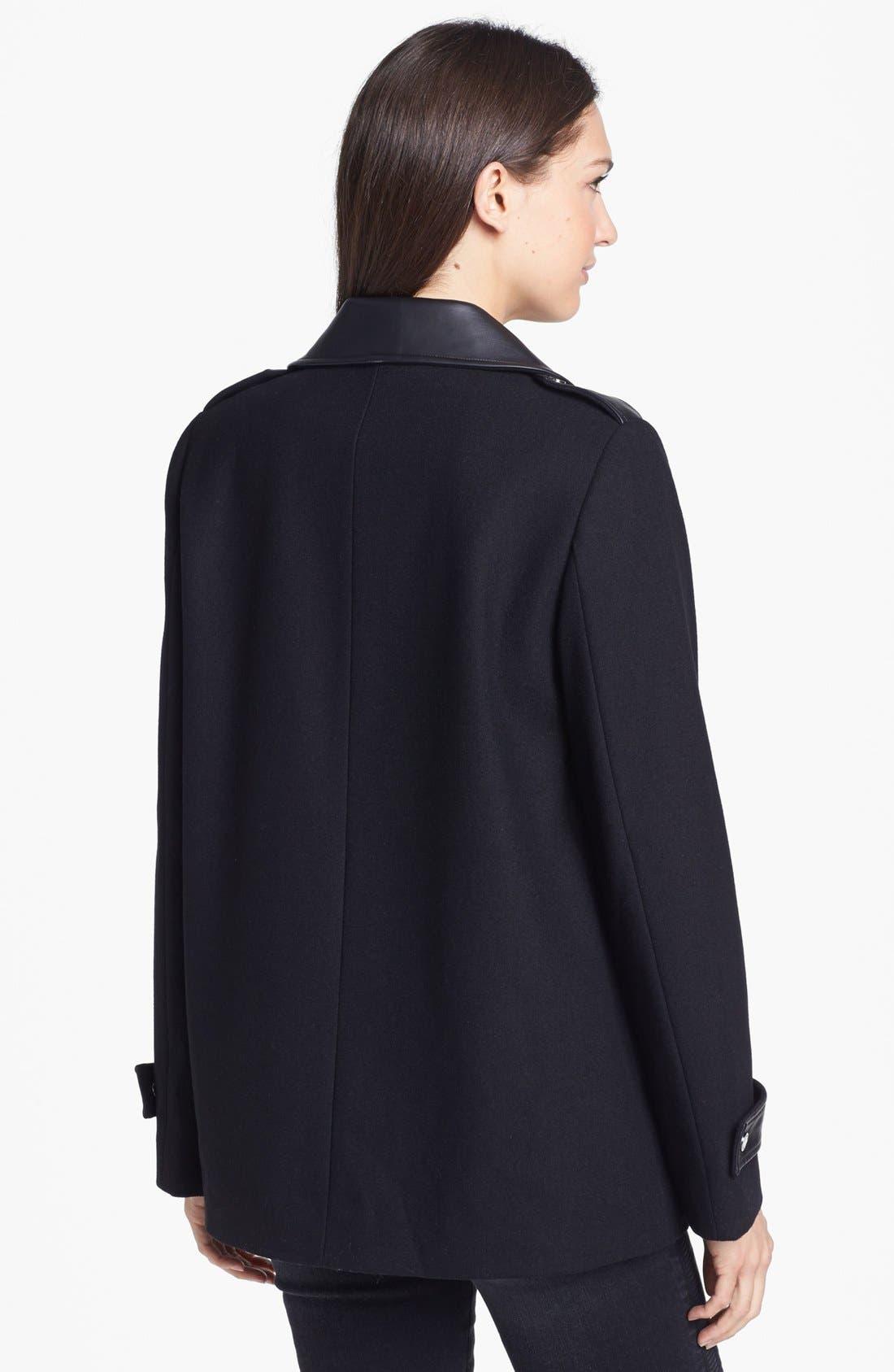 Faux Leather Trim Asymmetrical Jacket,                             Alternate thumbnail 5, color,                             001