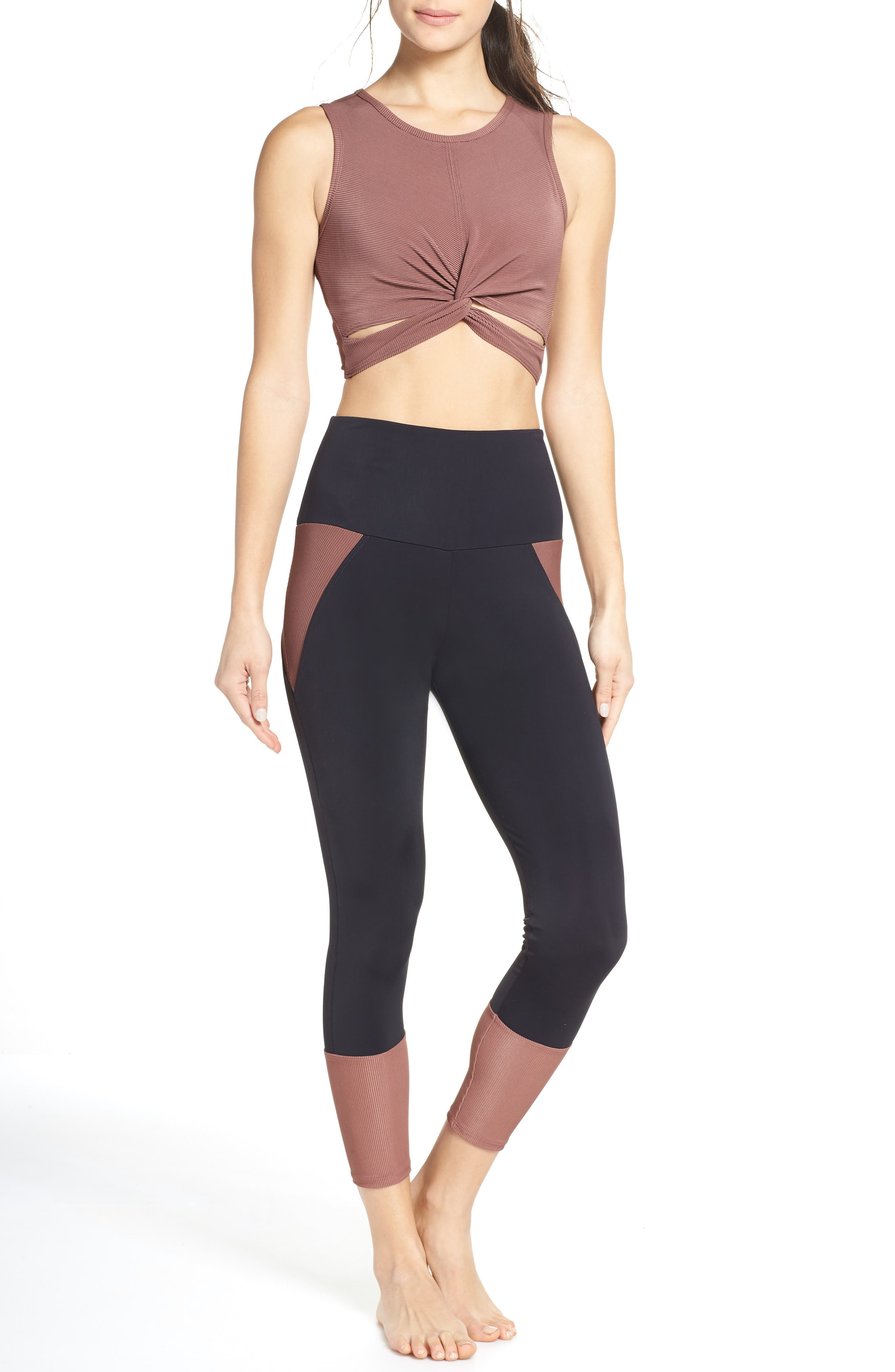 Front Twist Crop Top,                             Alternate thumbnail 7, color,                             TOAST RIB