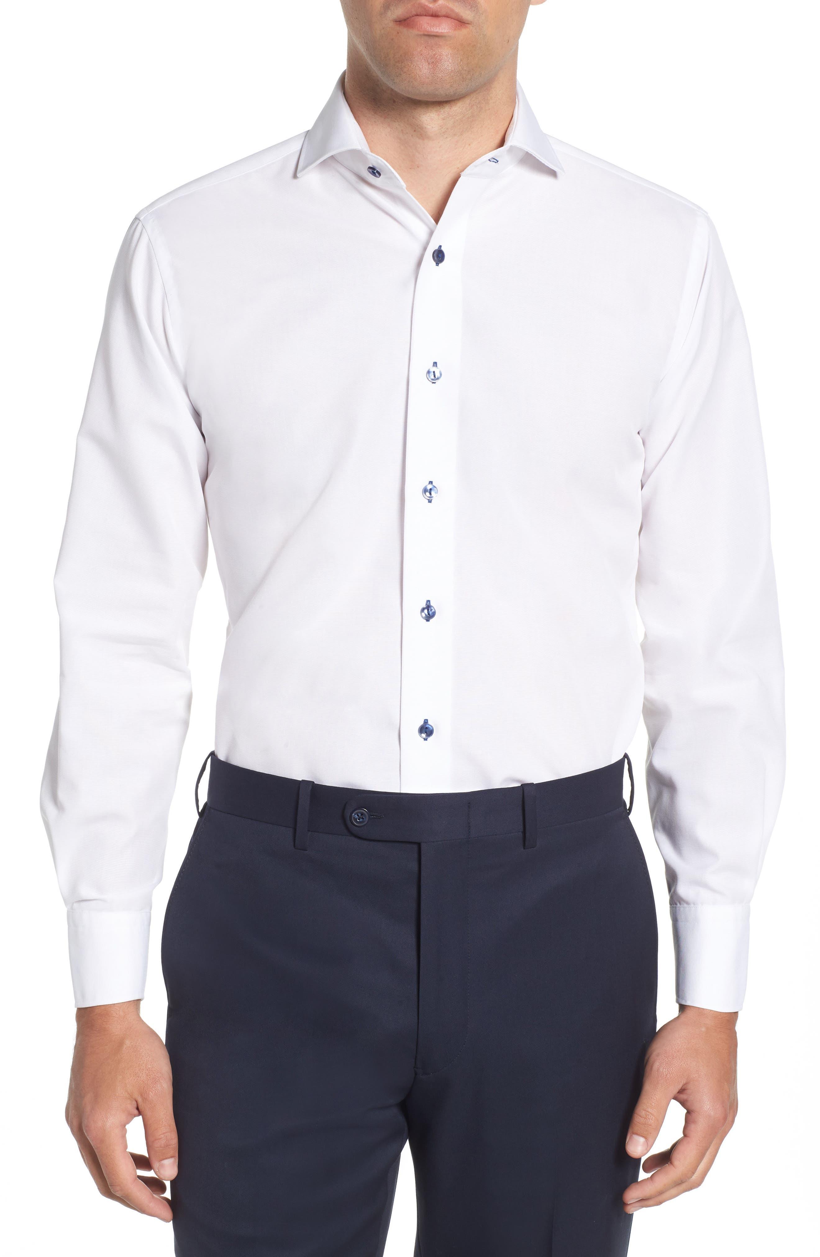 Trim Fit Solid Dress Shirt,                             Main thumbnail 1, color,                             100
