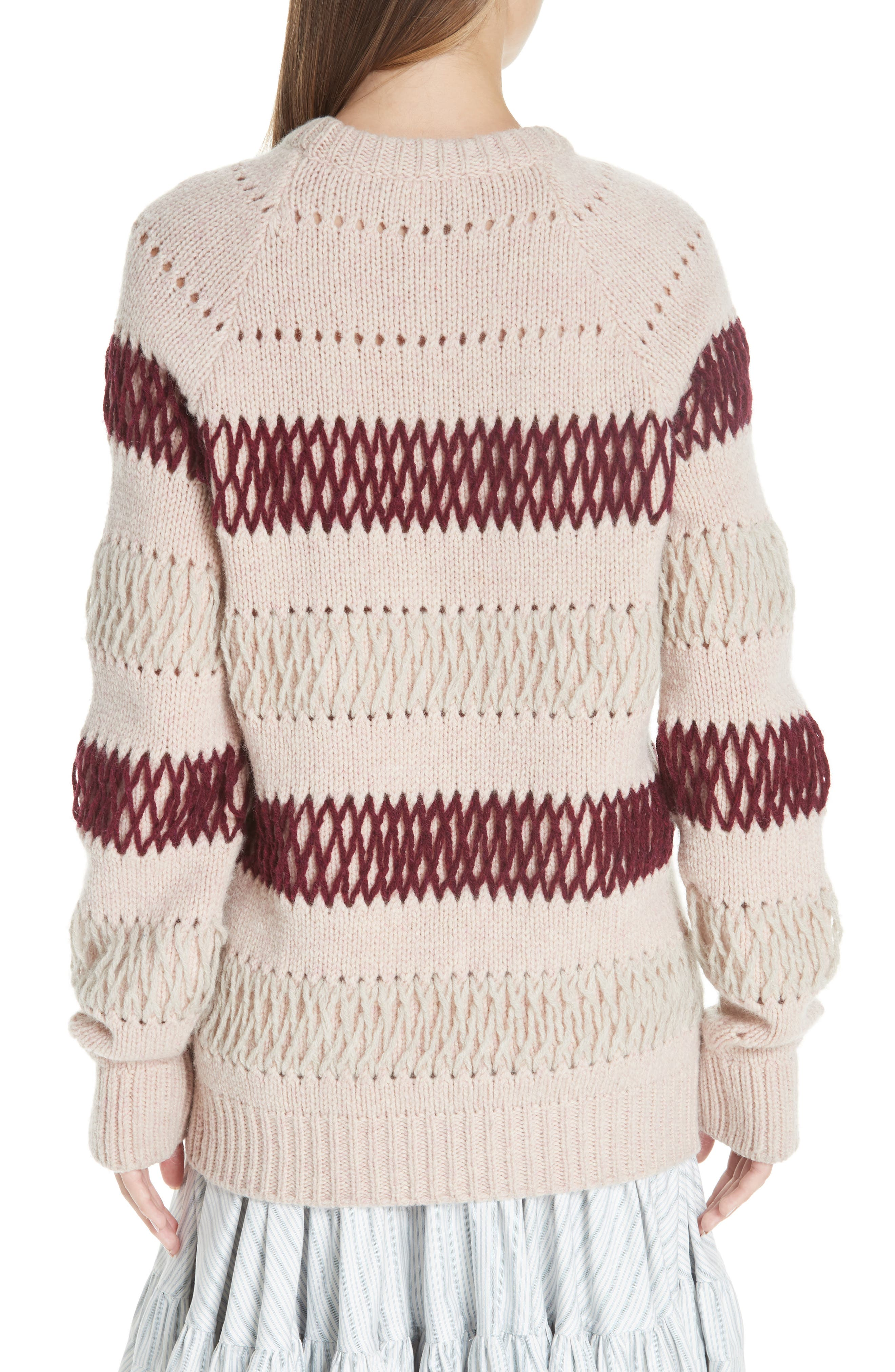 Embroidered Stripe Wool Sweater,                             Alternate thumbnail 2, color,                             PALE PINK BURGUNDY