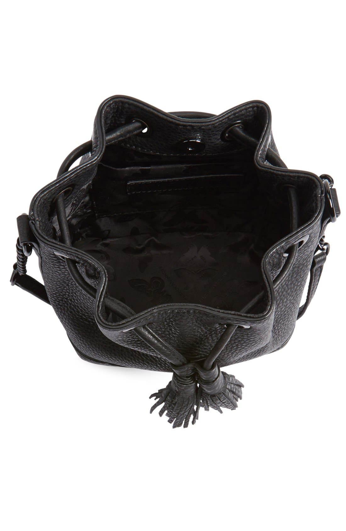 'Micro Lexi' Bucket Bag,                             Alternate thumbnail 6, color,                             001