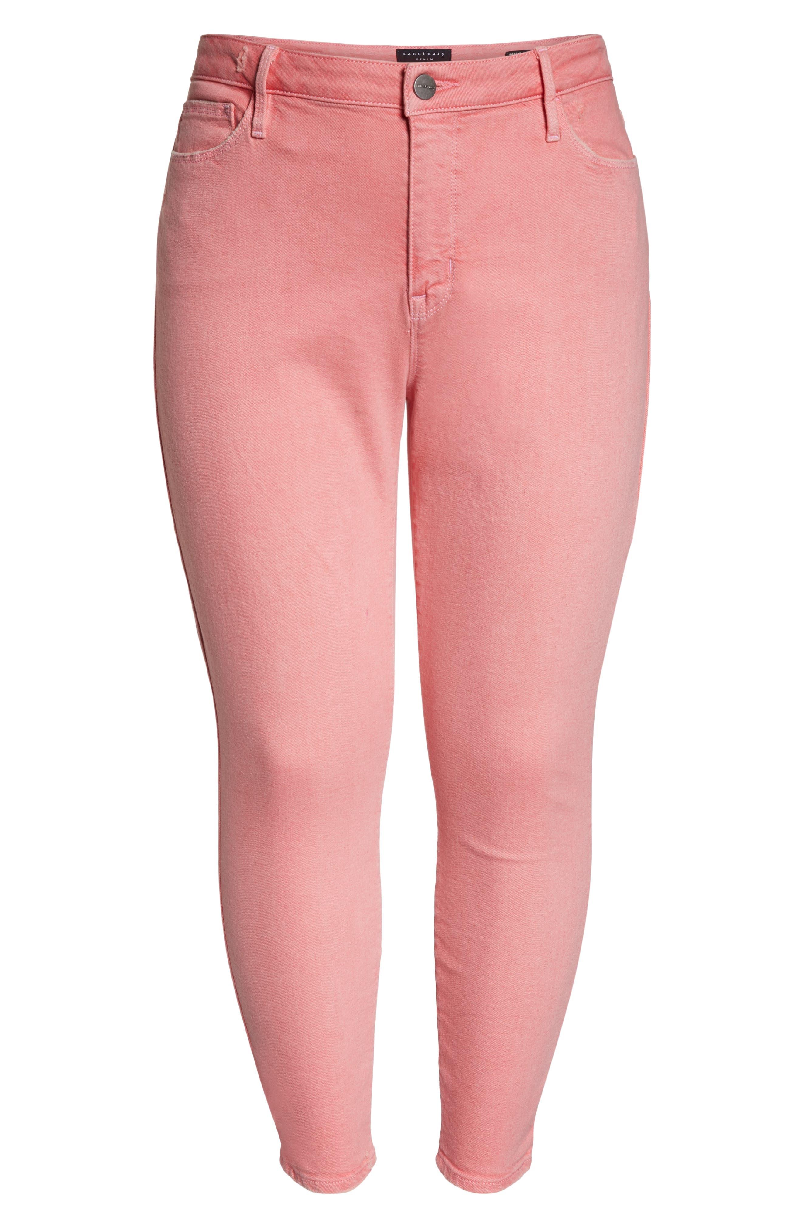 SANCTUARY,                             Social Standard Ankle Skinny Jeans,                             Alternate thumbnail 7, color,                             DK PNK FIZ