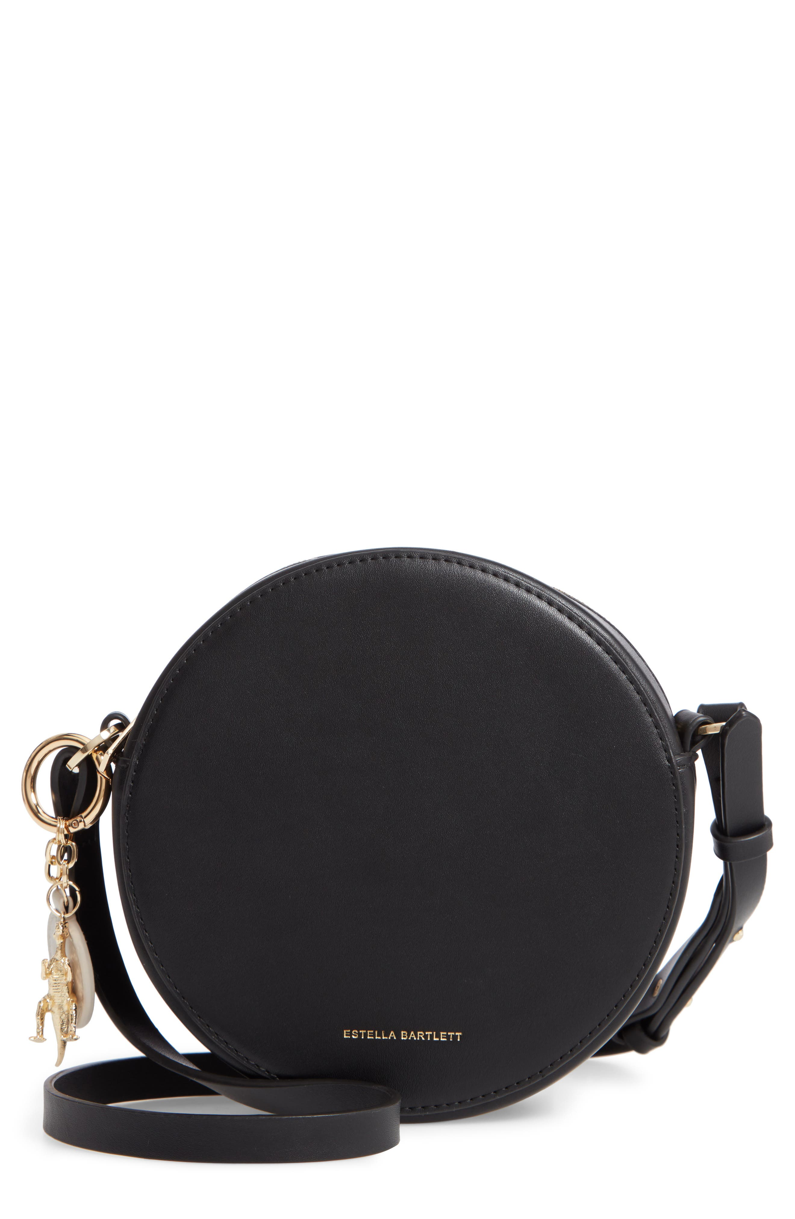 Emerson Faux Leather Round Bag,                         Main,                         color, BLACK/ YELLOW