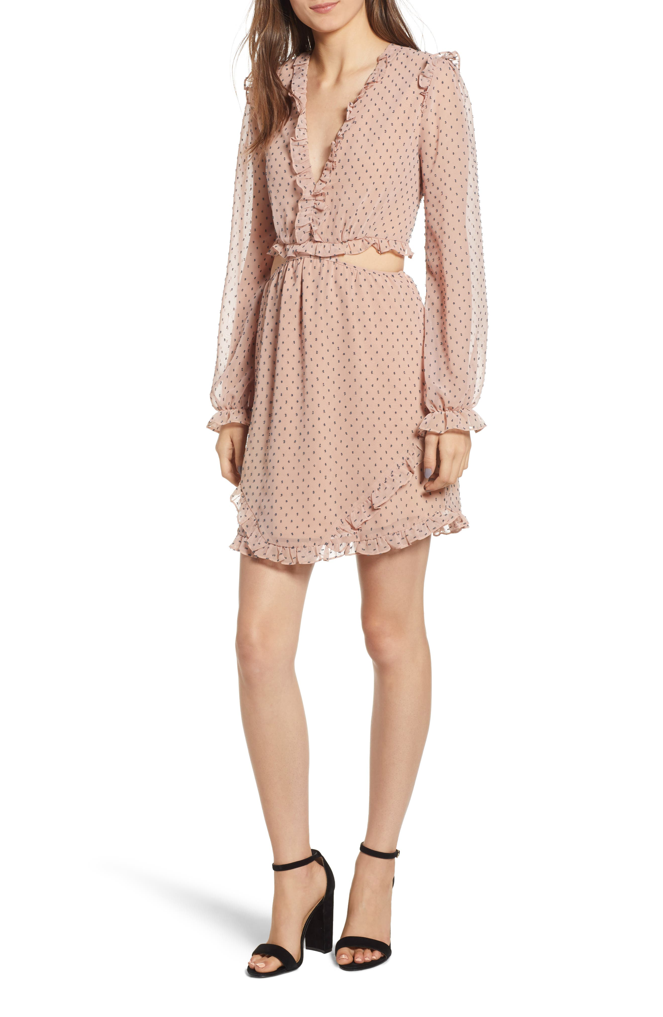 WAYF,                             Allegria Lace-Up Minidress,                             Main thumbnail 1, color,                             650