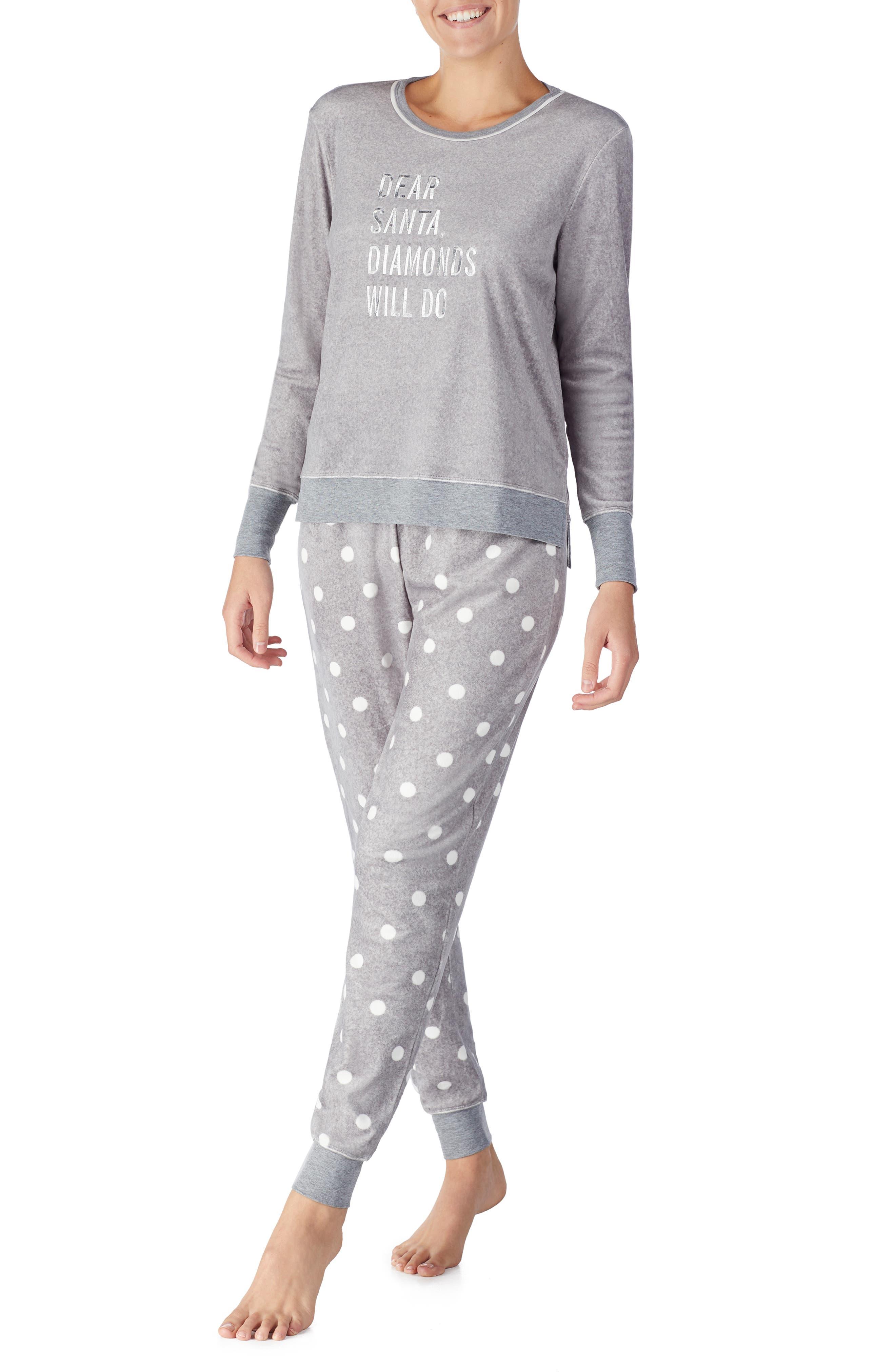 jogger long pajamas,                             Alternate thumbnail 3, color,                             GREY DOT