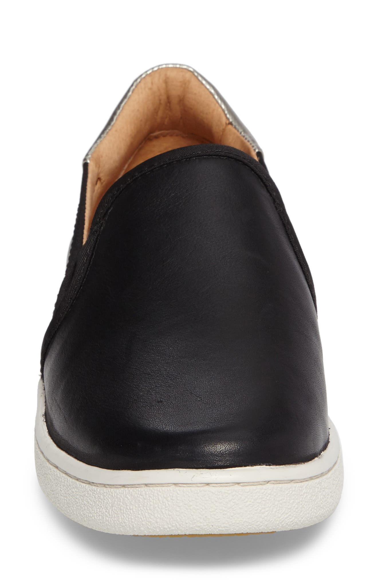 Cas Slip-On Sneaker,                             Alternate thumbnail 4, color,                             BLACK LEATHER