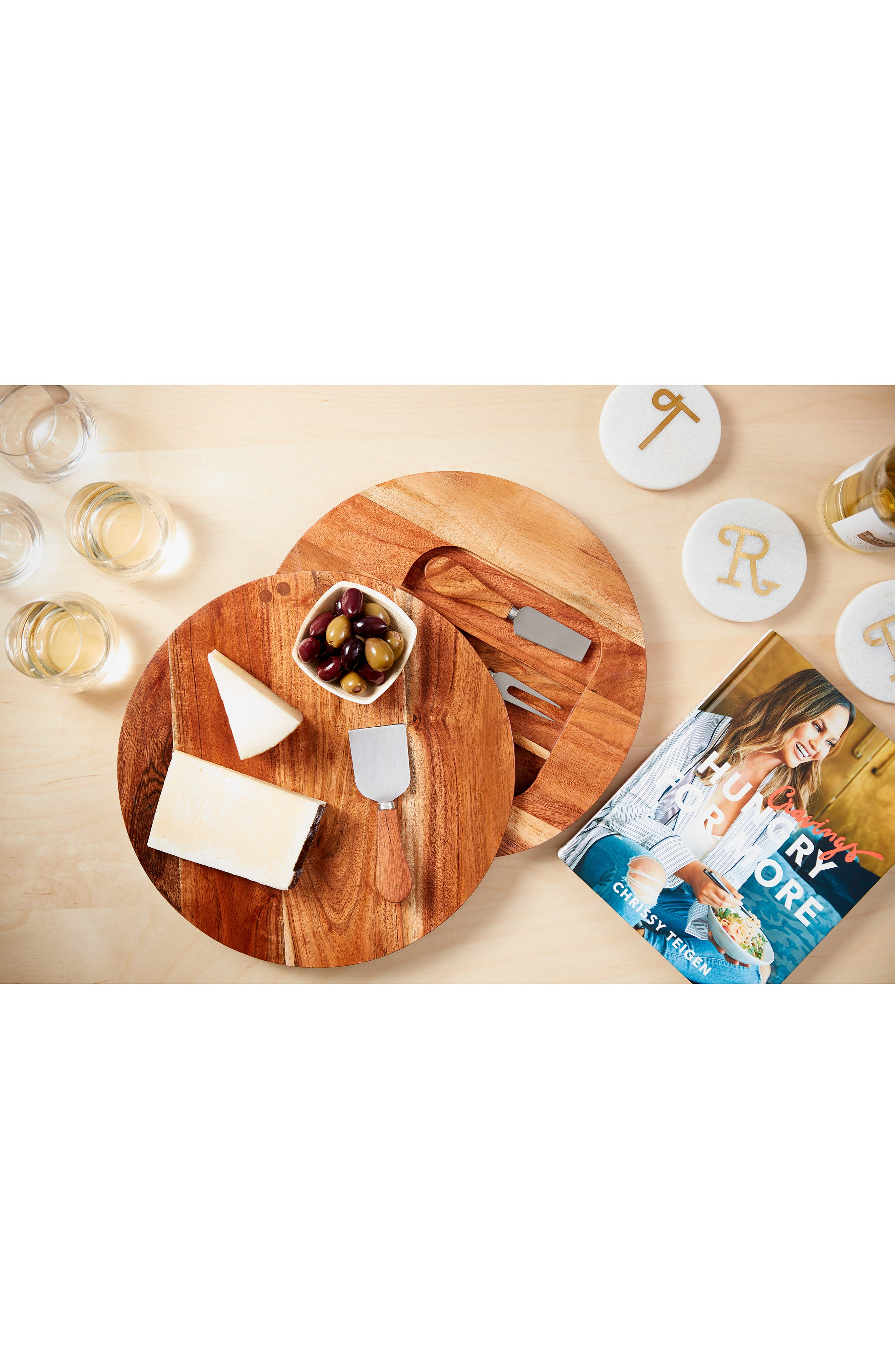 Acacia Wood Cheese Board & Cheese Knives,                             Alternate thumbnail 4, color,                             BROWN