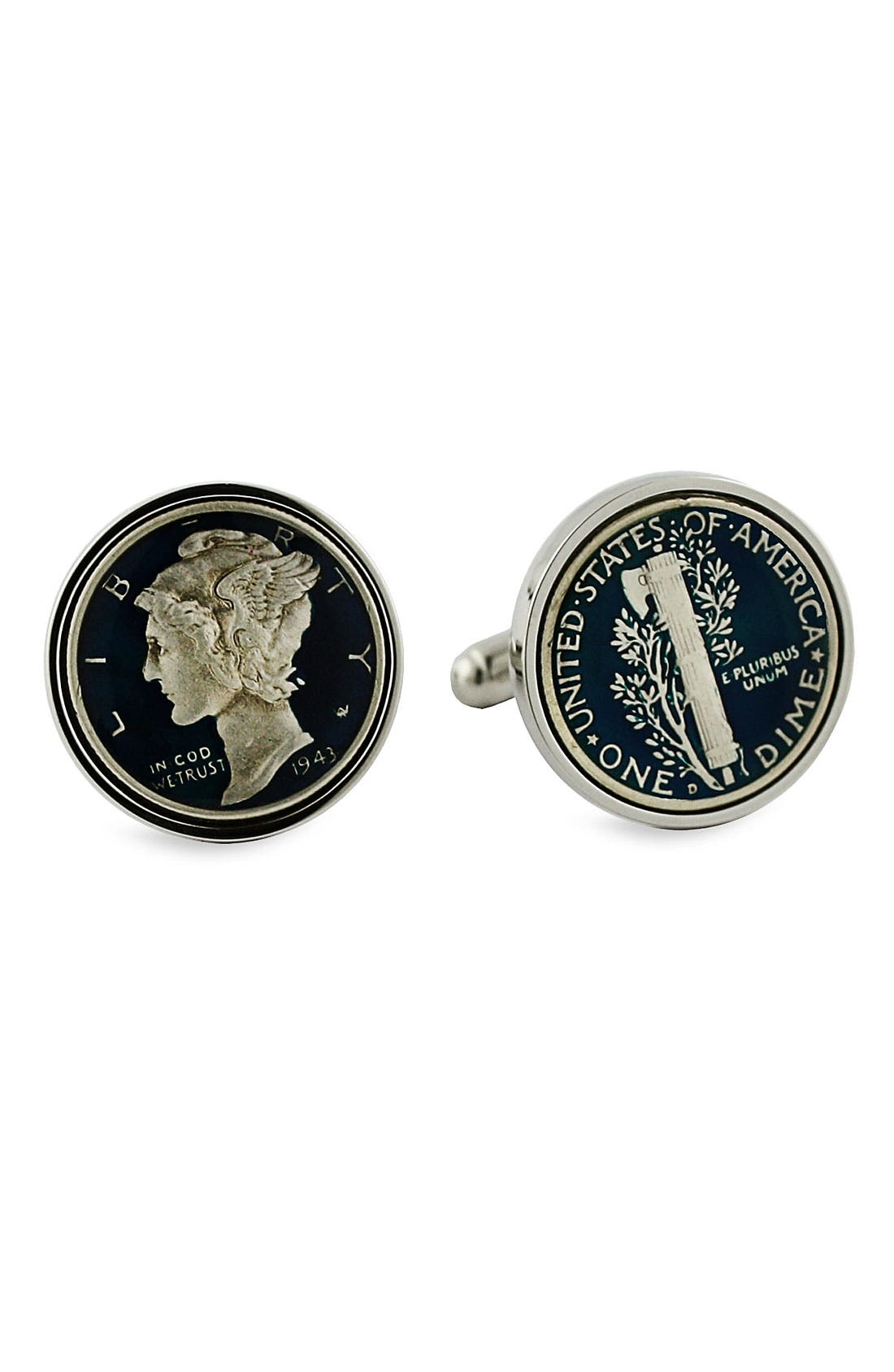 'Mercury Dime' Cuff Links,                             Main thumbnail 1, color,                             MERCURY DIME