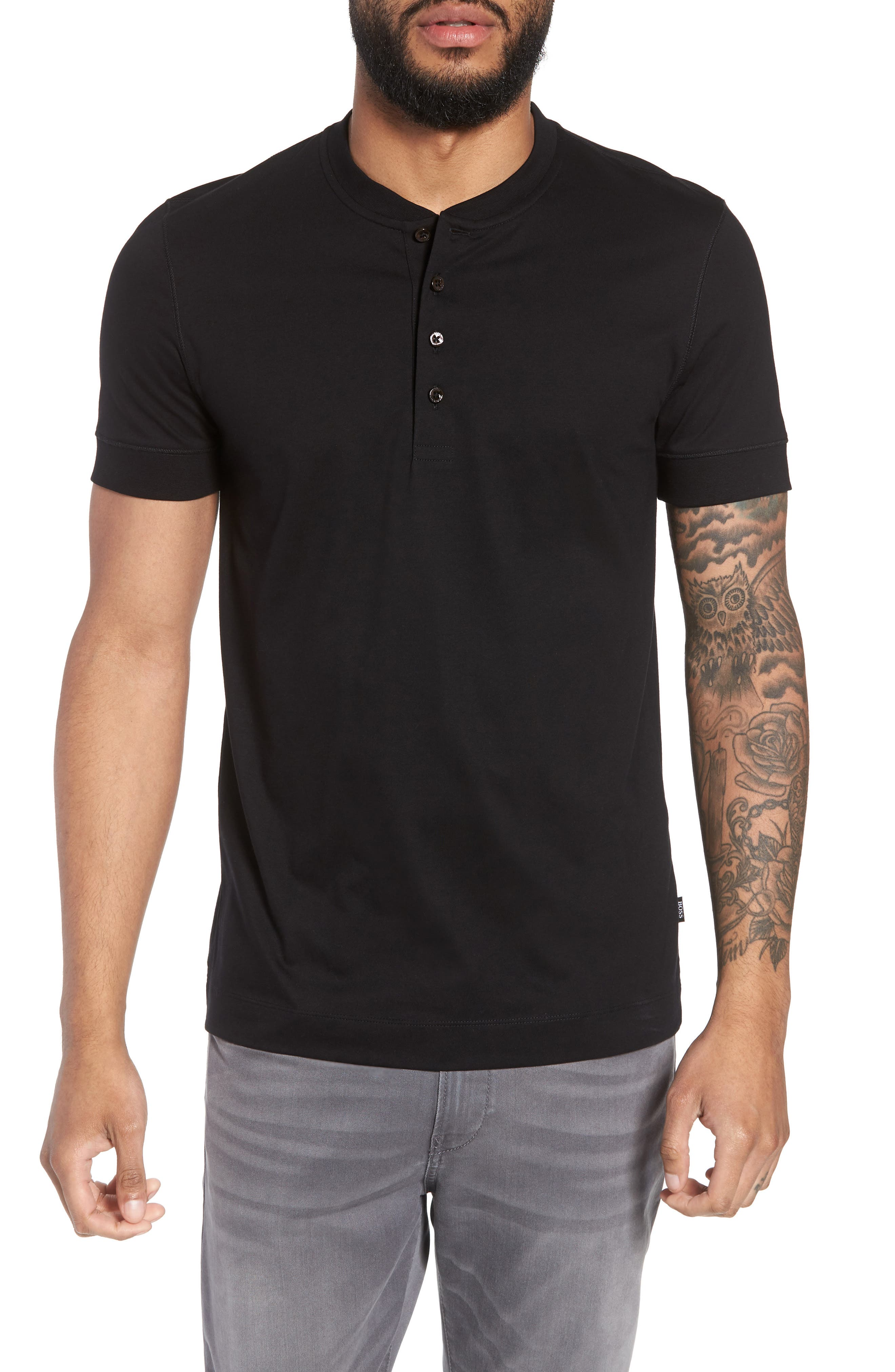 Tiller Short Sleeve Henley,                         Main,                         color, BLACK