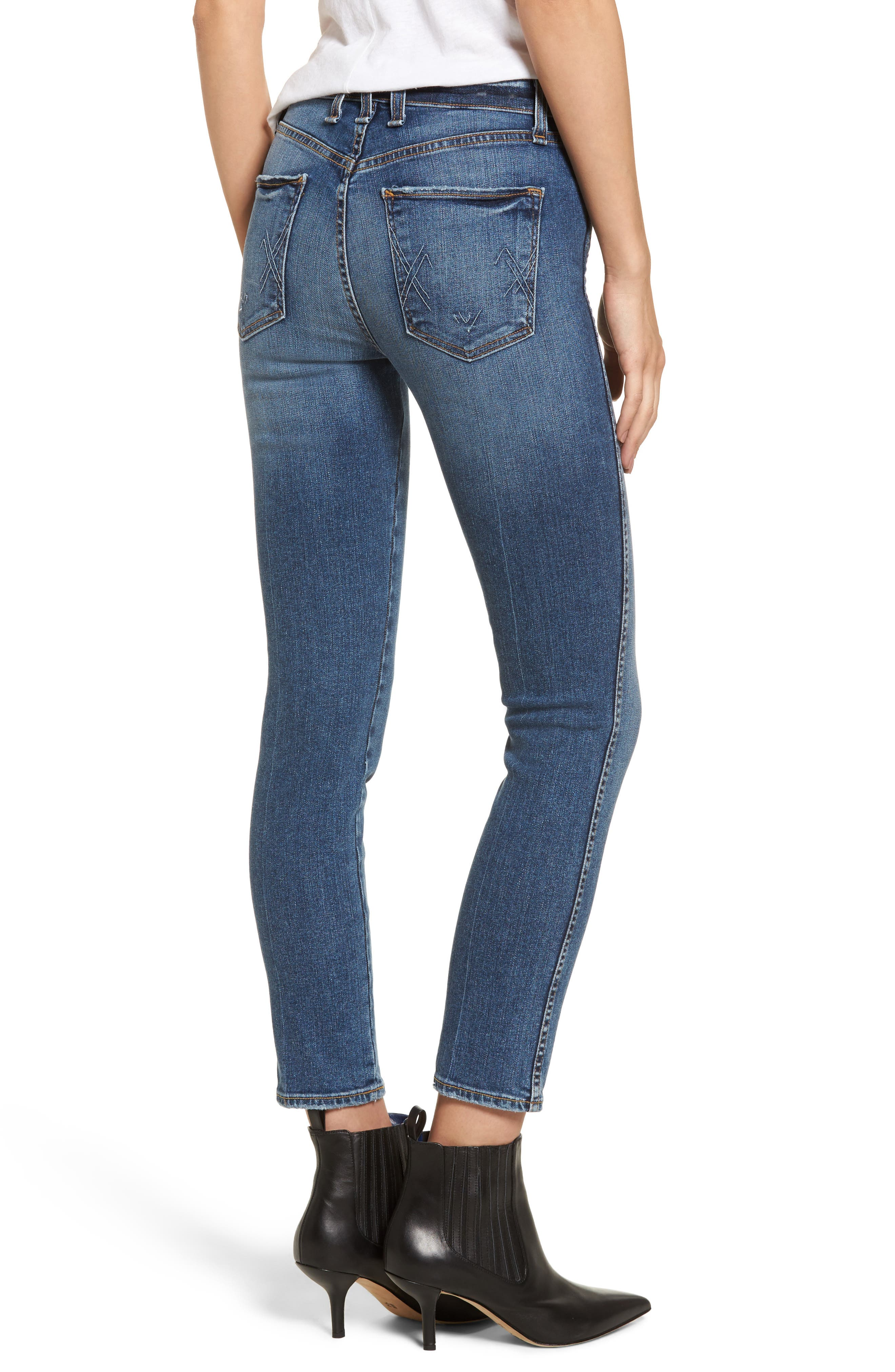 Windsor Destroyed High Waist Straight Leg Jeans,                             Alternate thumbnail 3, color,