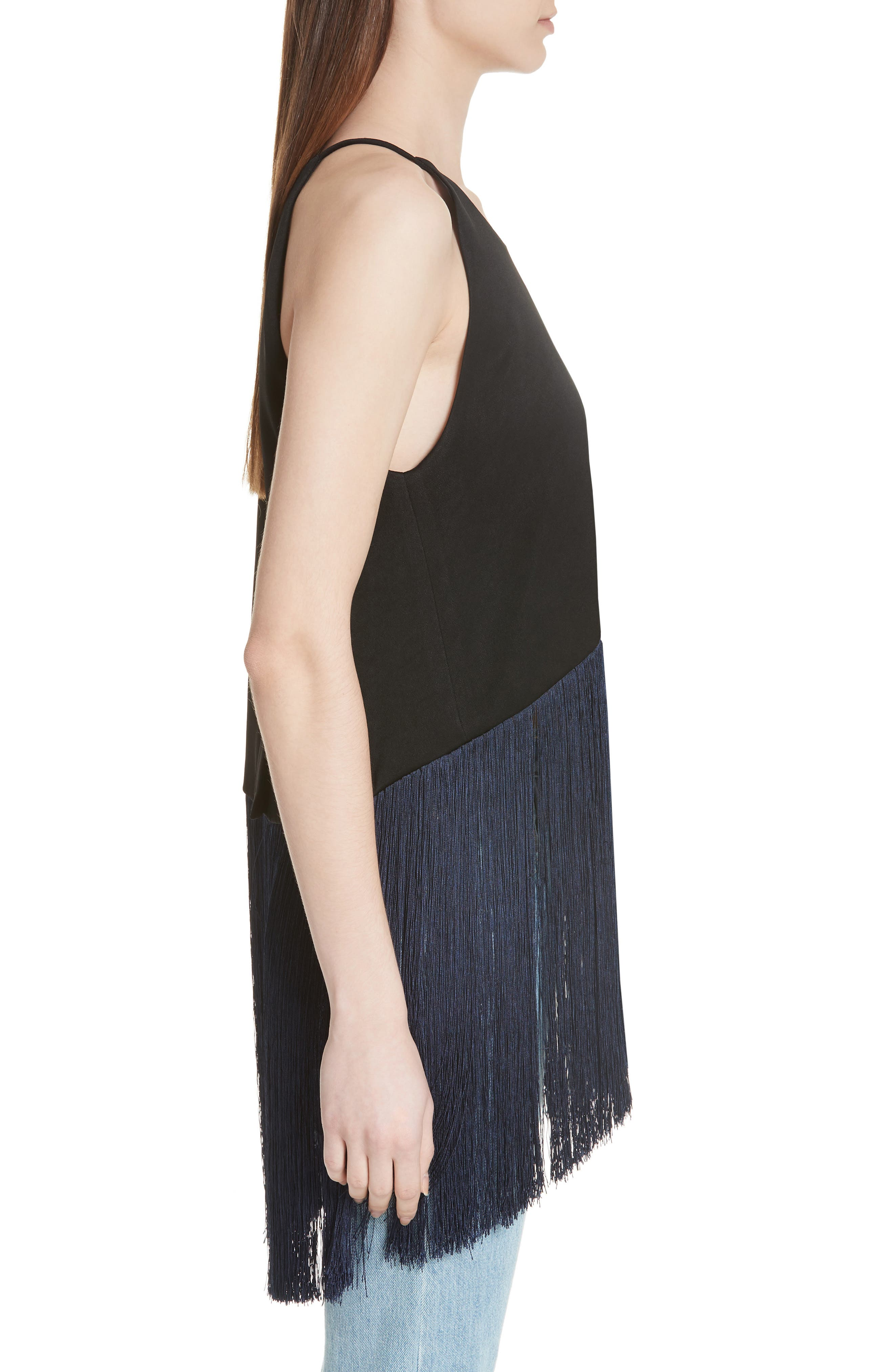 Star Sign Fringe Crop Top,                             Alternate thumbnail 3, color,