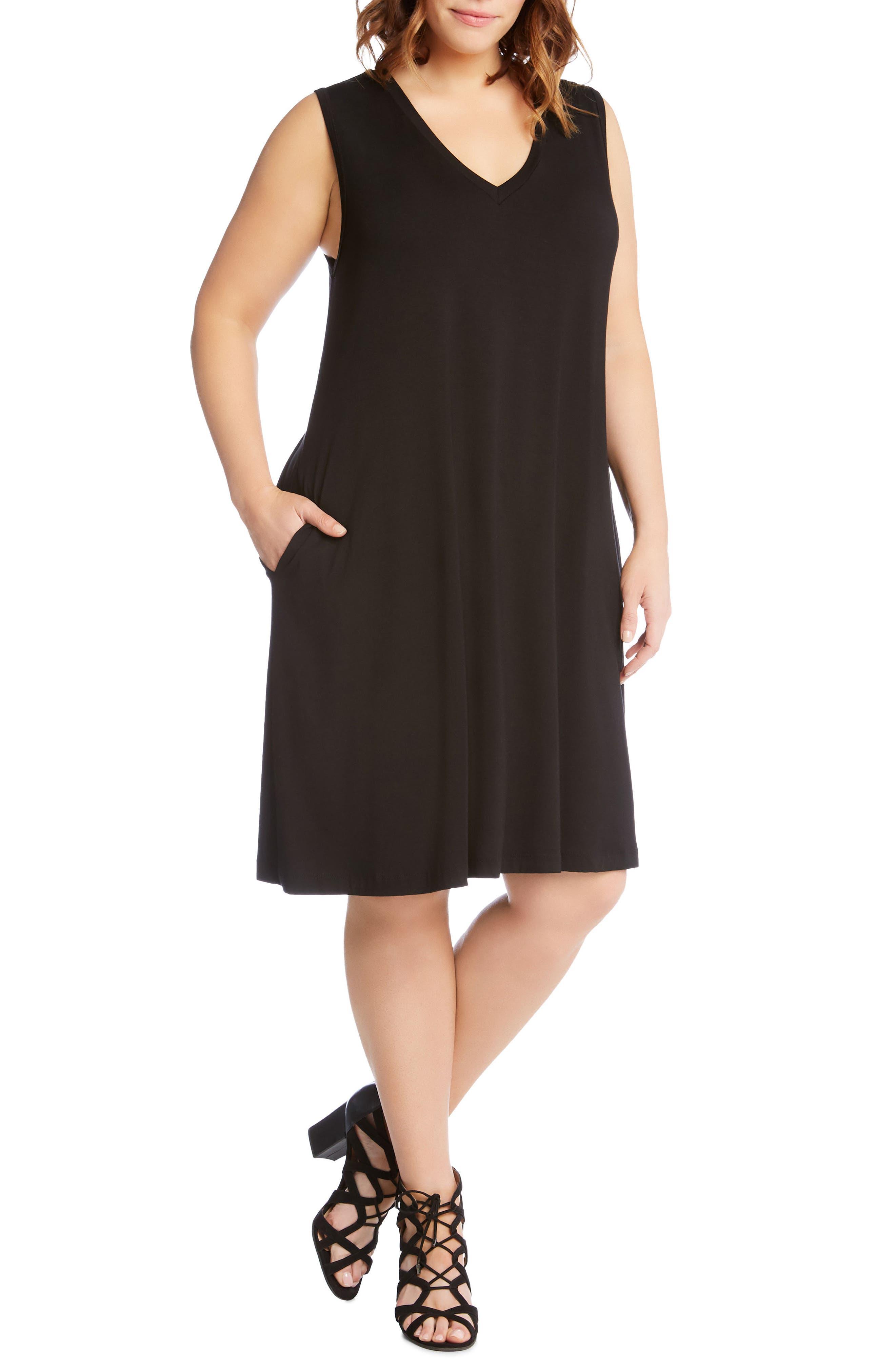Sleeveless Pocket Jersey Dress,                         Main,                         color, BLACK