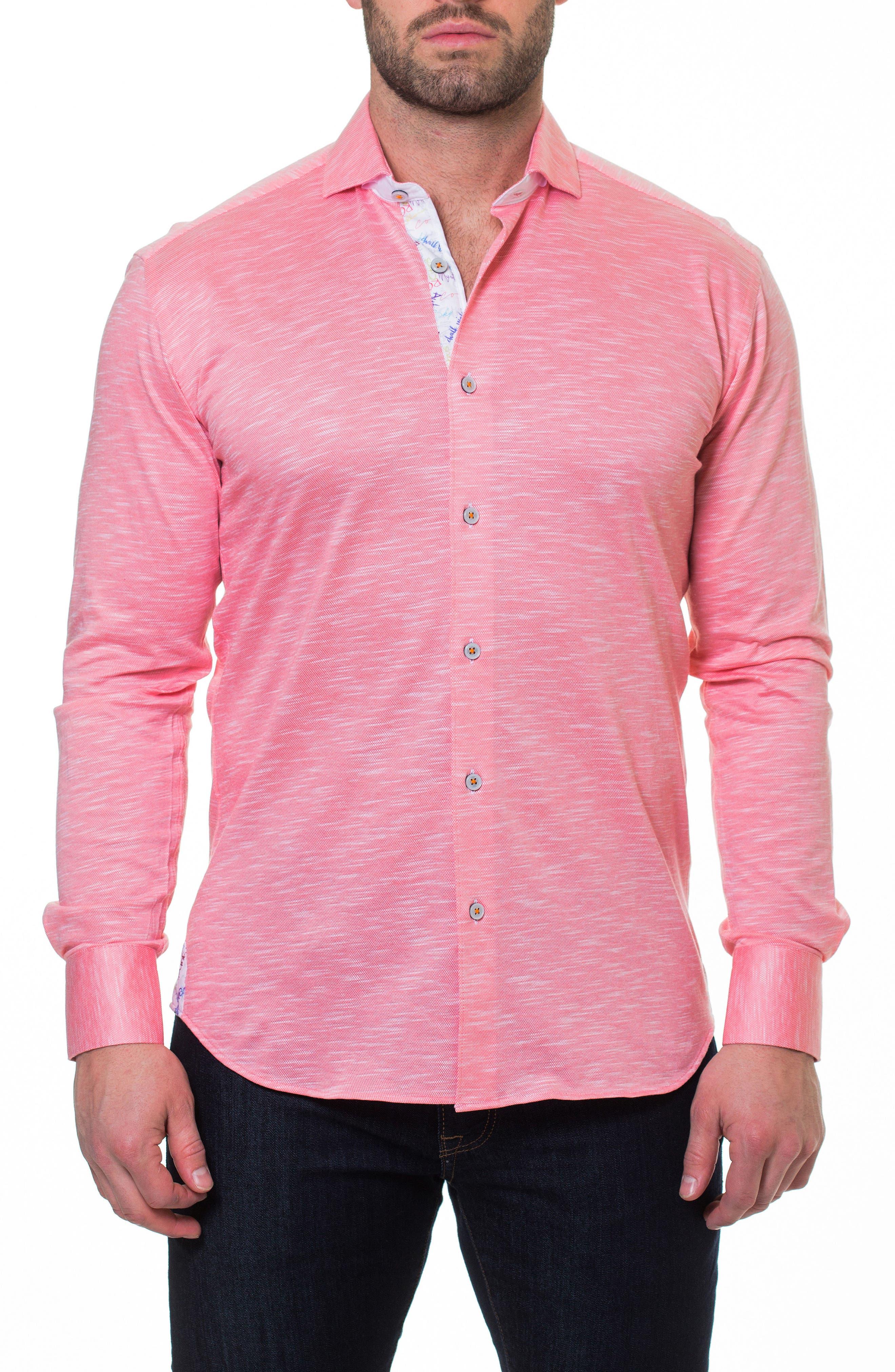 Wall Street Salmon Slim Fit Sport Shirt,                             Alternate thumbnail 4, color,