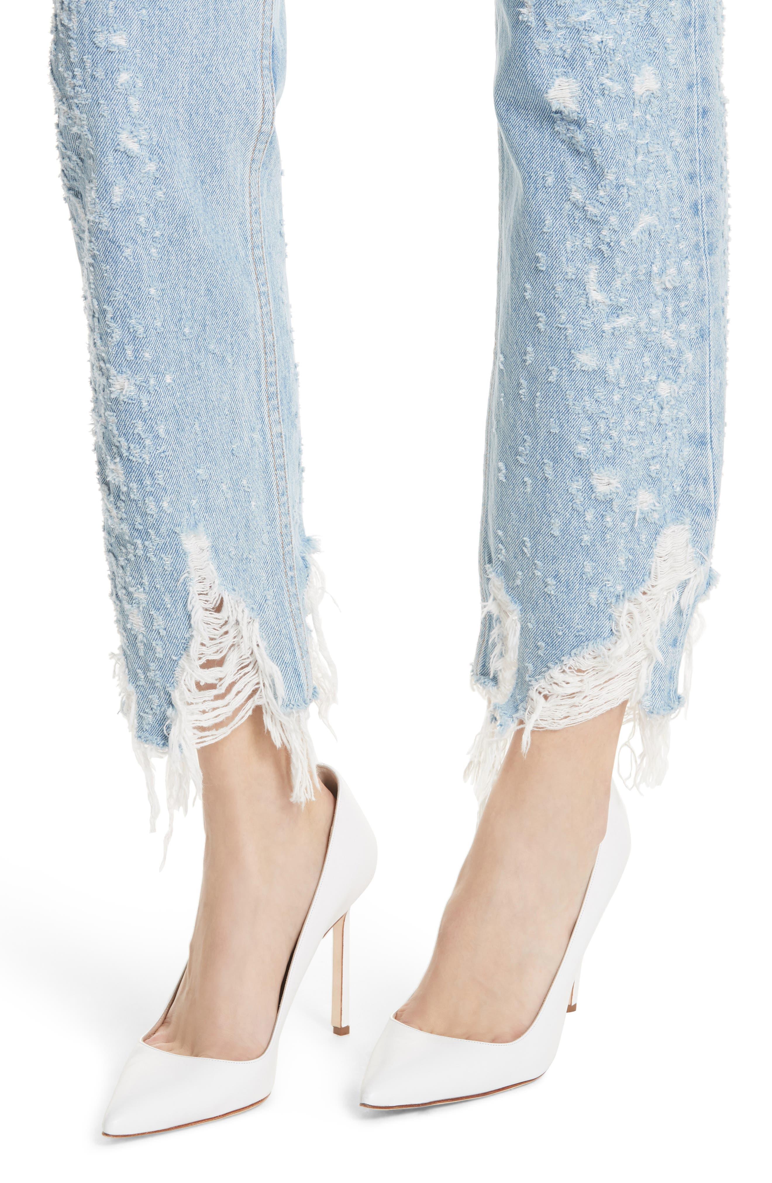 Helena Rigid High Waist Straight Jeans,                             Alternate thumbnail 4, color,                             BURN OUT