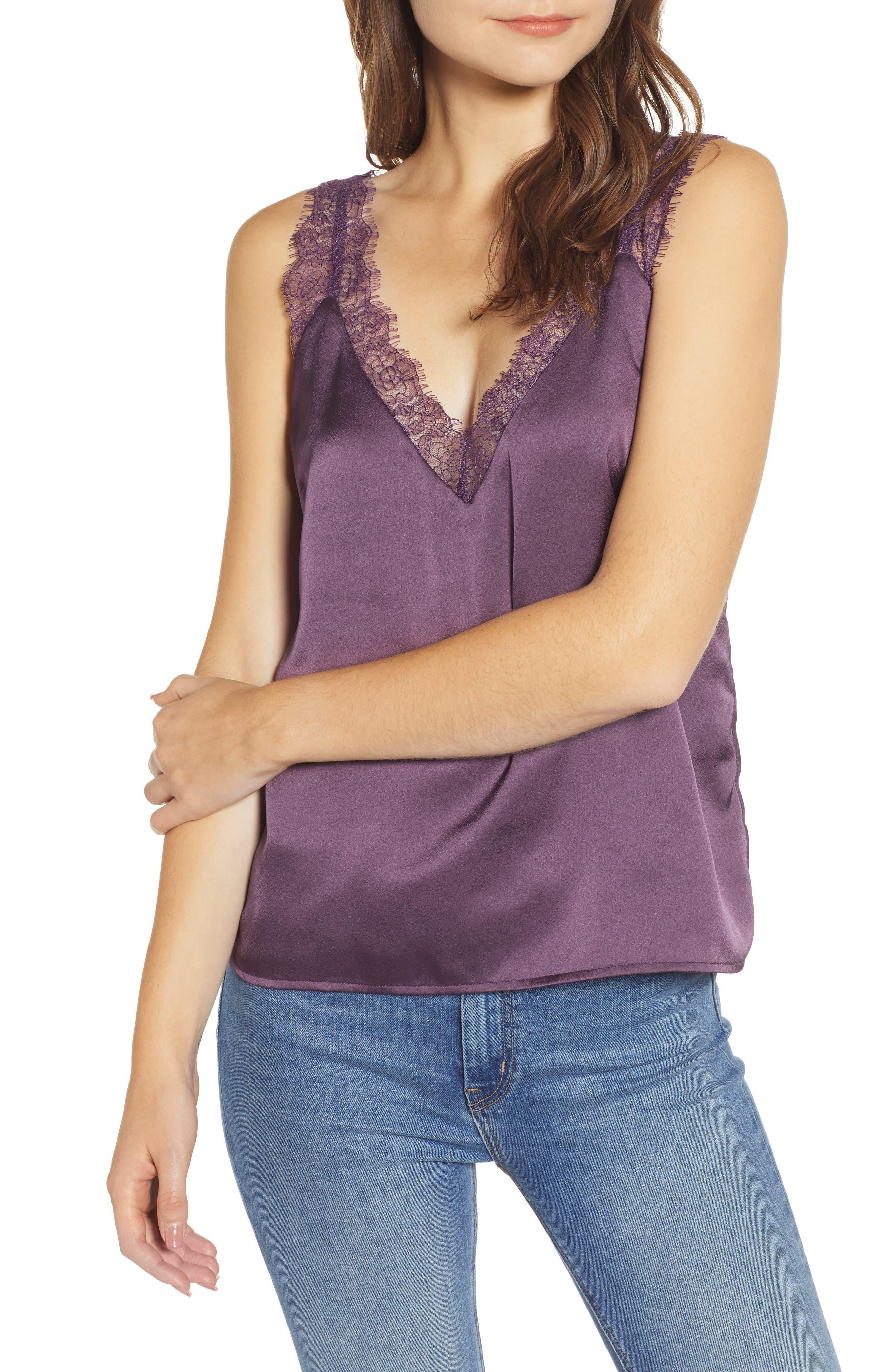 Heartloom Misty Lace Trim Camisole, Purple