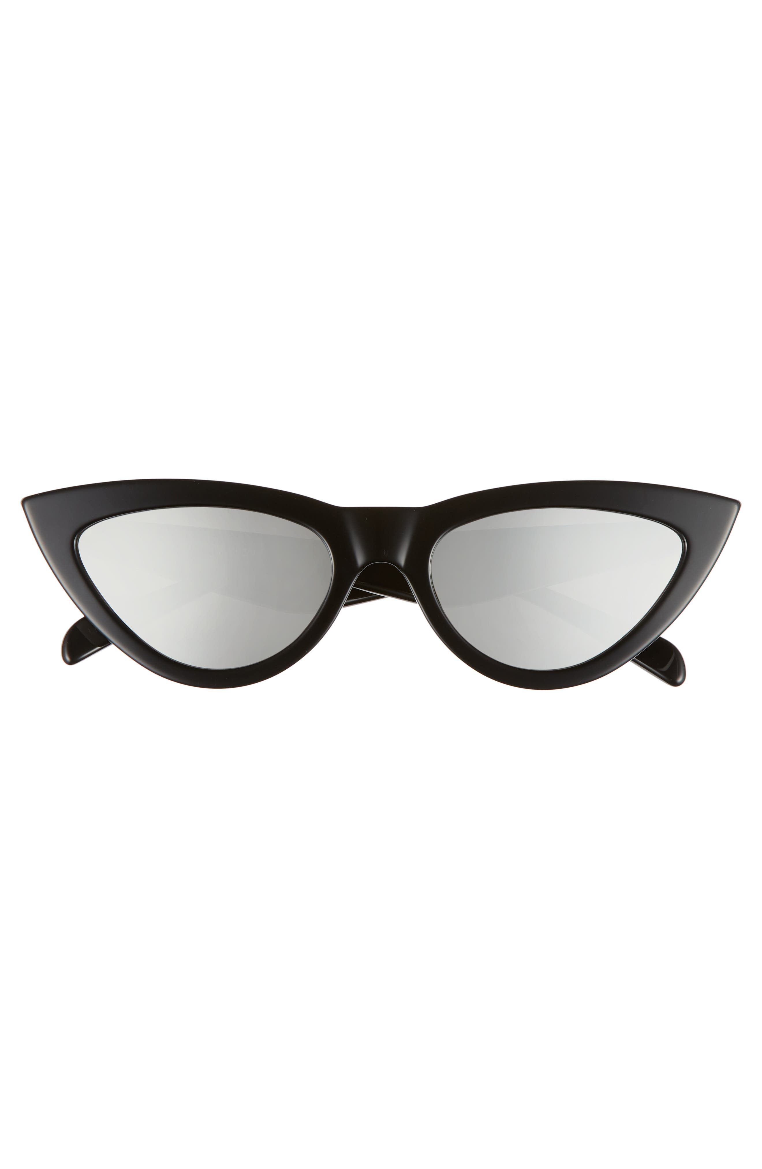 56mm Cat Eye Sunglasses,                             Alternate thumbnail 3, color,                             BLACK/ SILVER FLASH