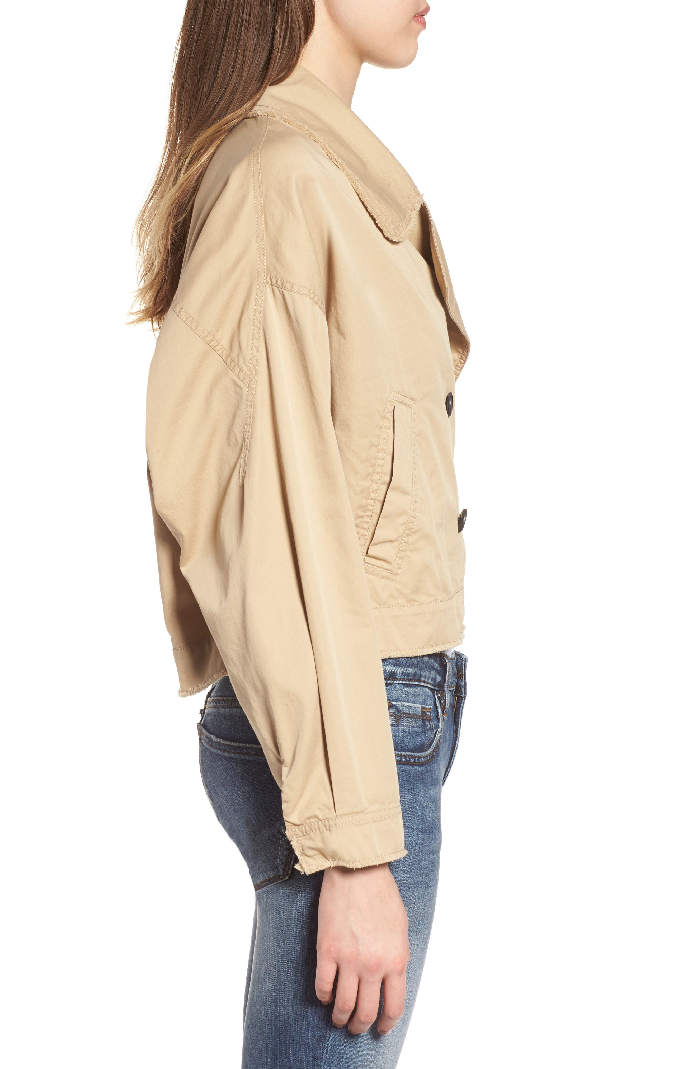 Crop Trench Coat,                             Alternate thumbnail 3, color,                             260