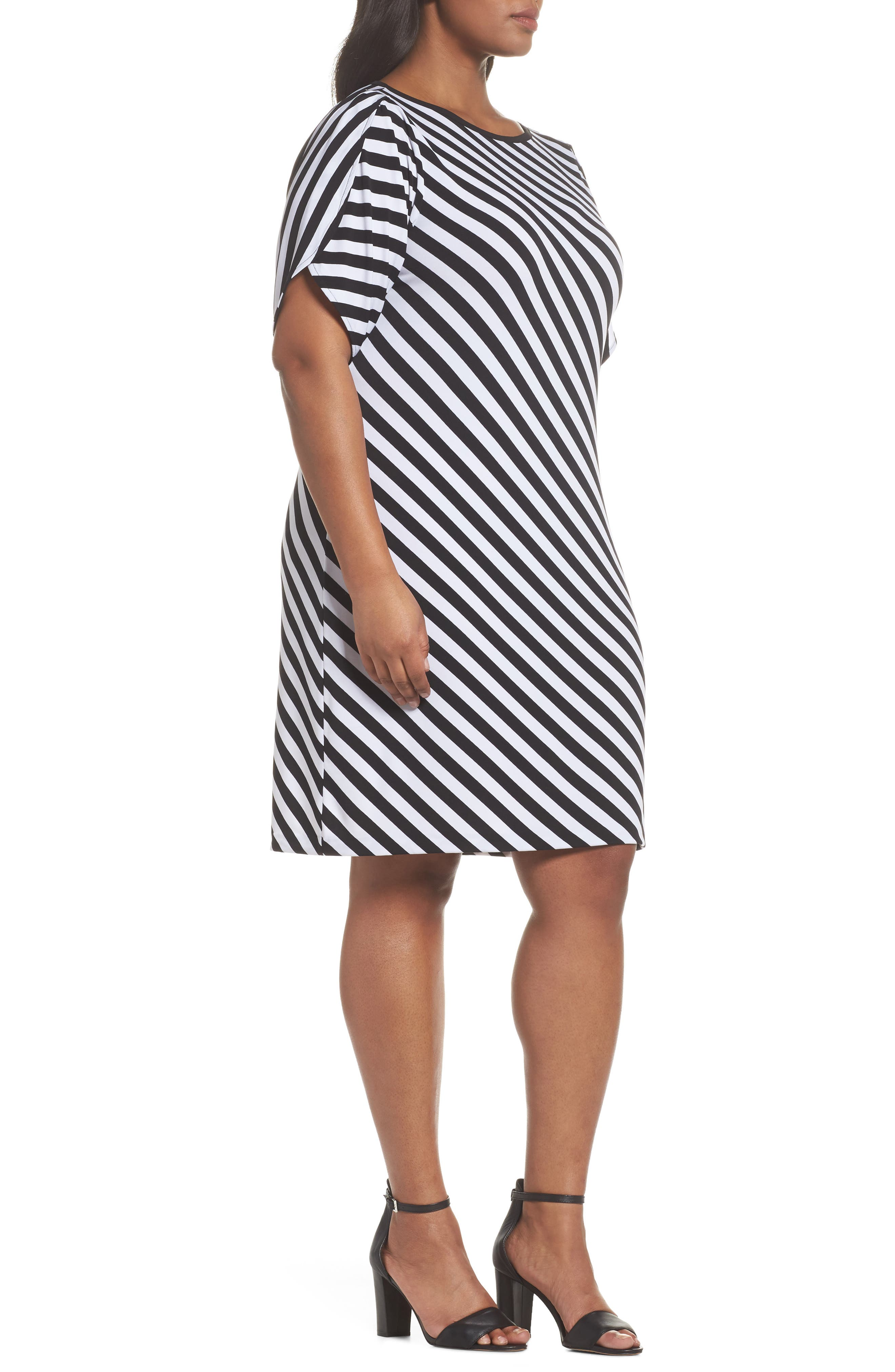 Tulip Sleeve Stripe Dress,                             Alternate thumbnail 3, color,