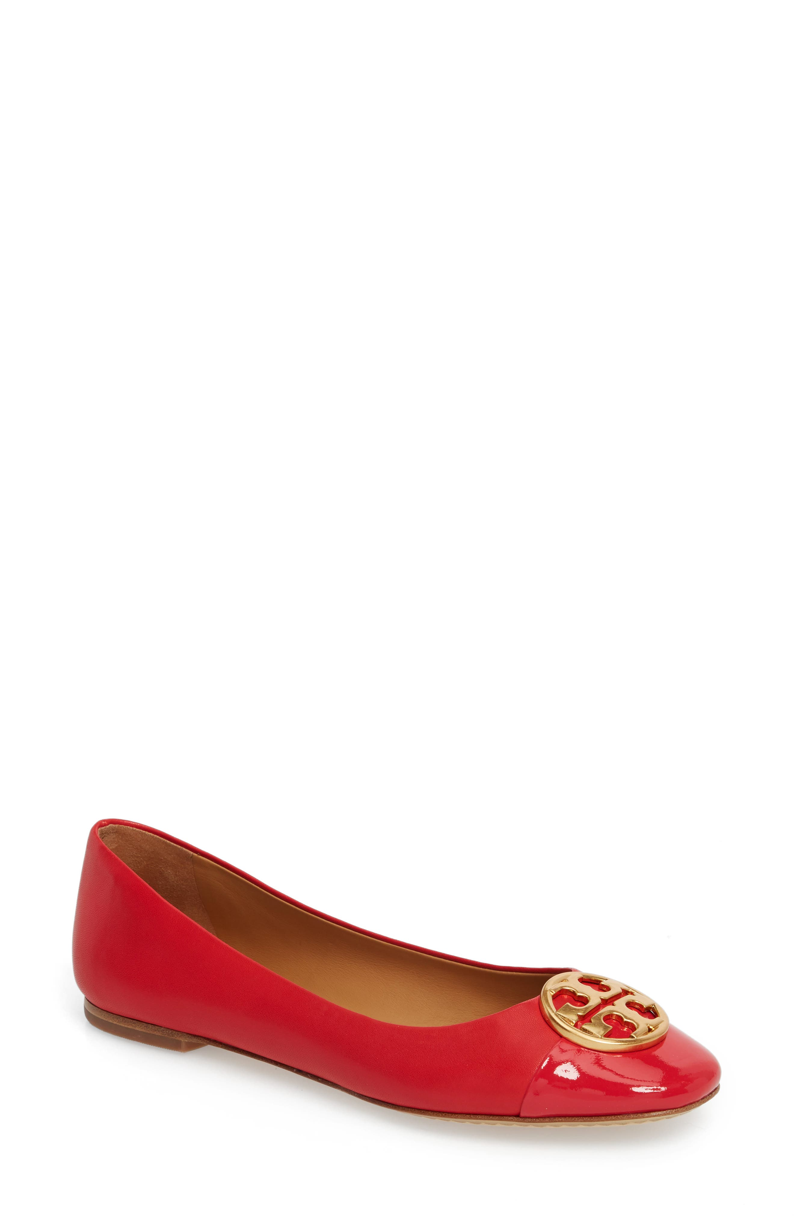 Chelsea Cap Toe Ballet Flat,                             Main thumbnail 1, color,                             BRILLIANT RED