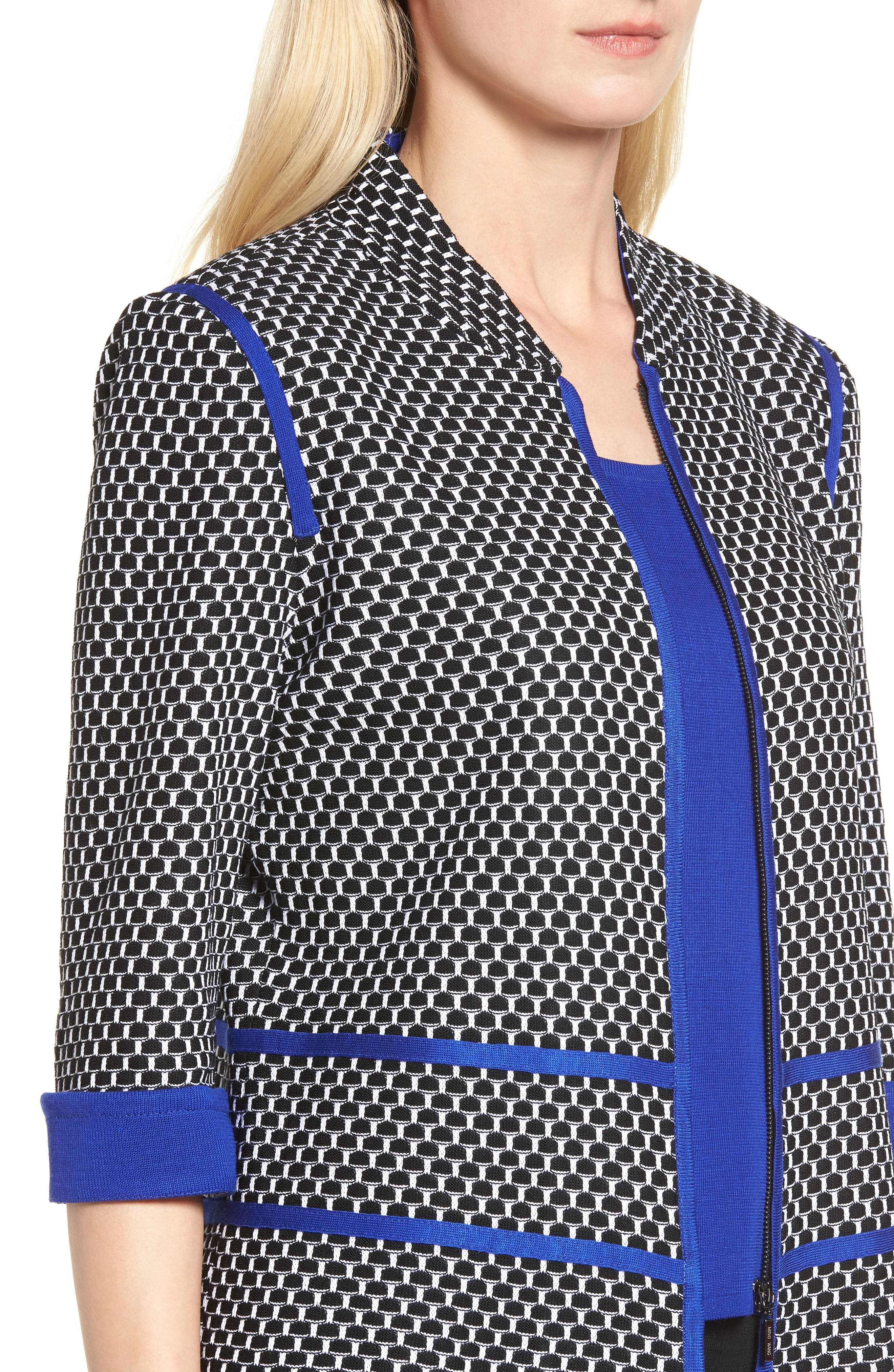 Jacquard Knit Jacket,                             Alternate thumbnail 4, color,                             407
