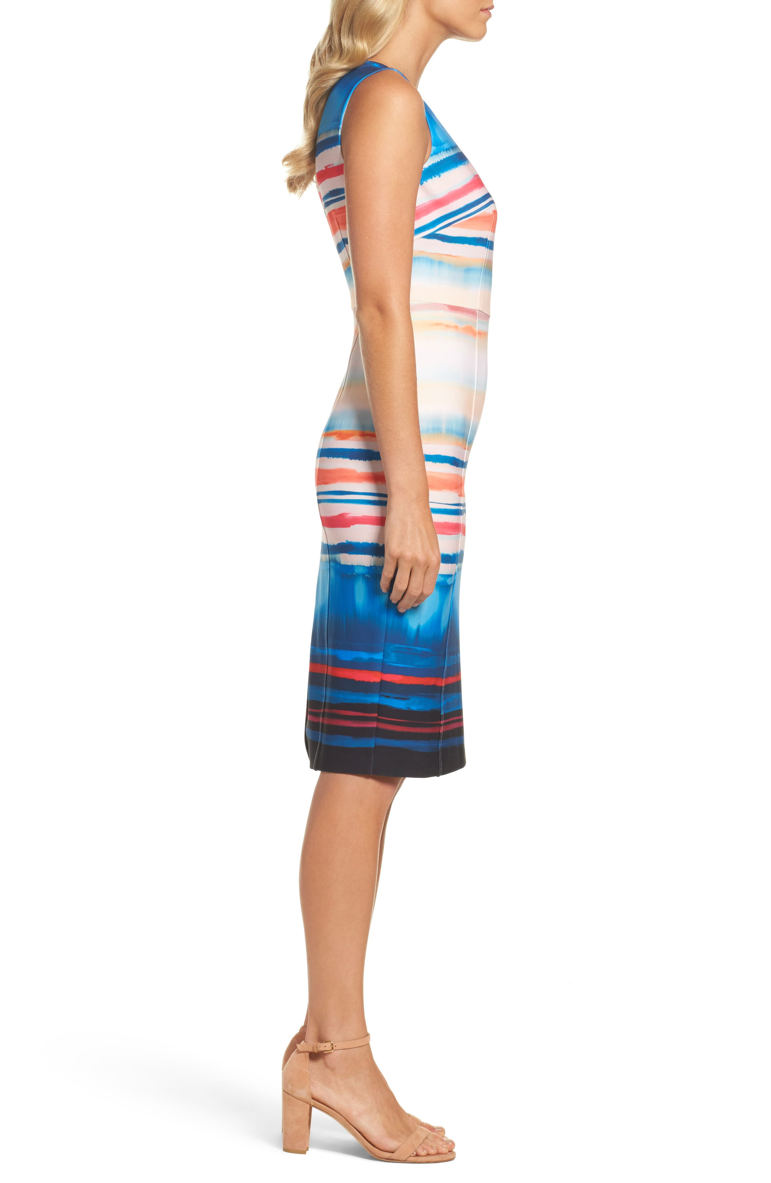 Scuba Sheath Dress,                             Alternate thumbnail 3, color,                             001