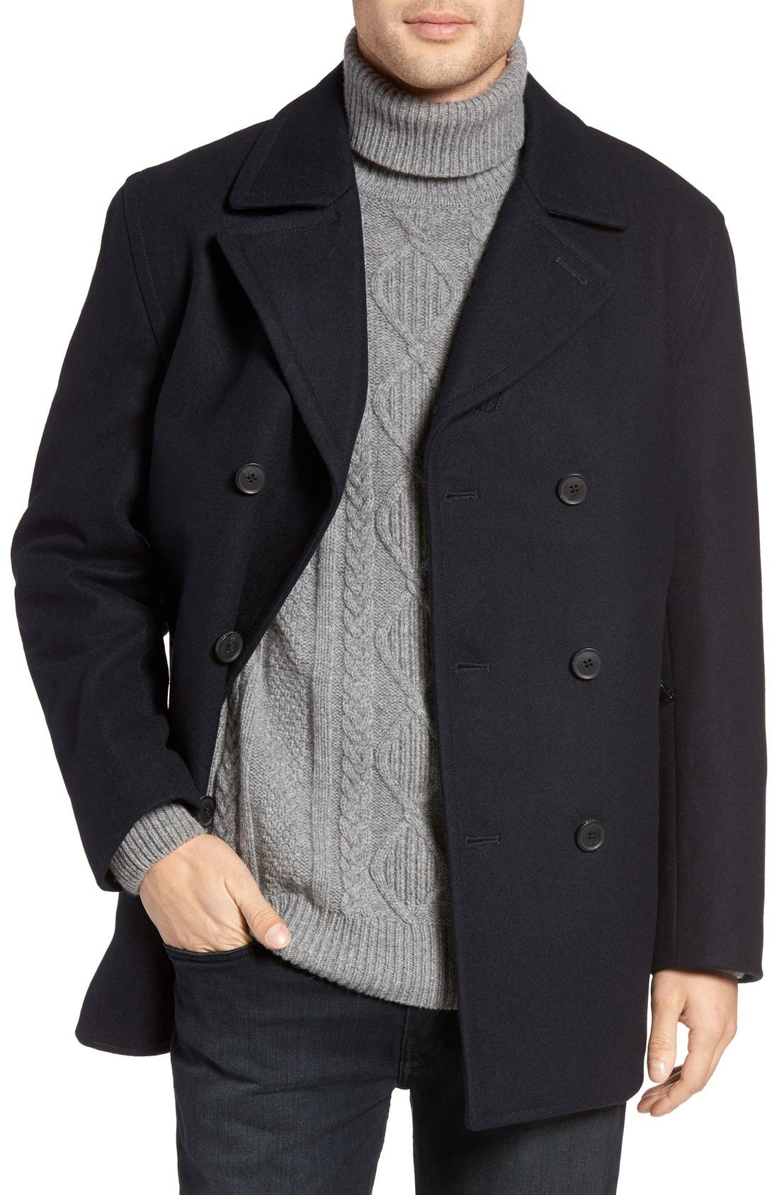 Wool Blend Double Breasted Peacoat,                             Main thumbnail 15, color,
