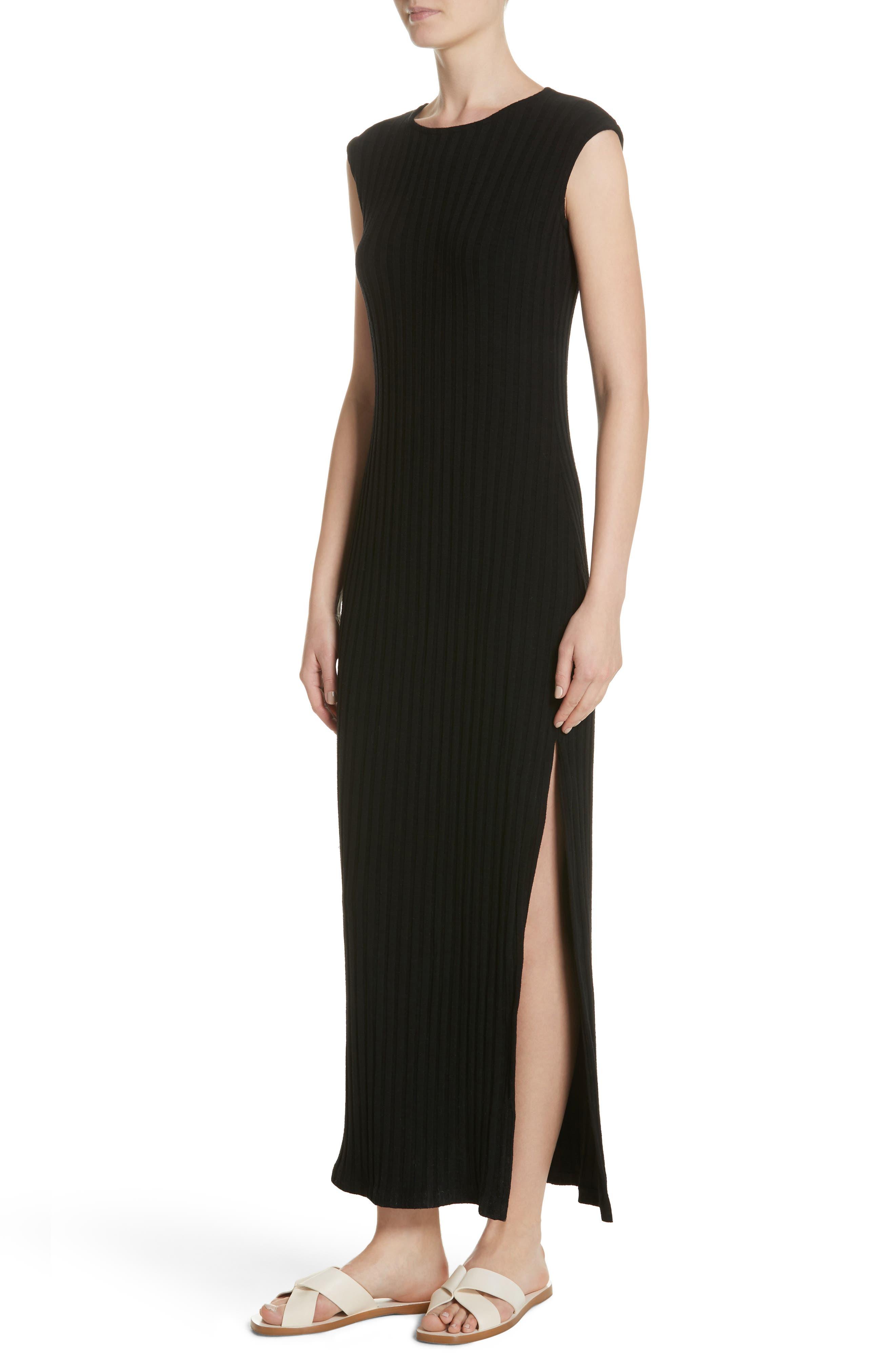 Tali Stretch Ribbed Body-Con Dress,                             Alternate thumbnail 4, color,                             BLACK