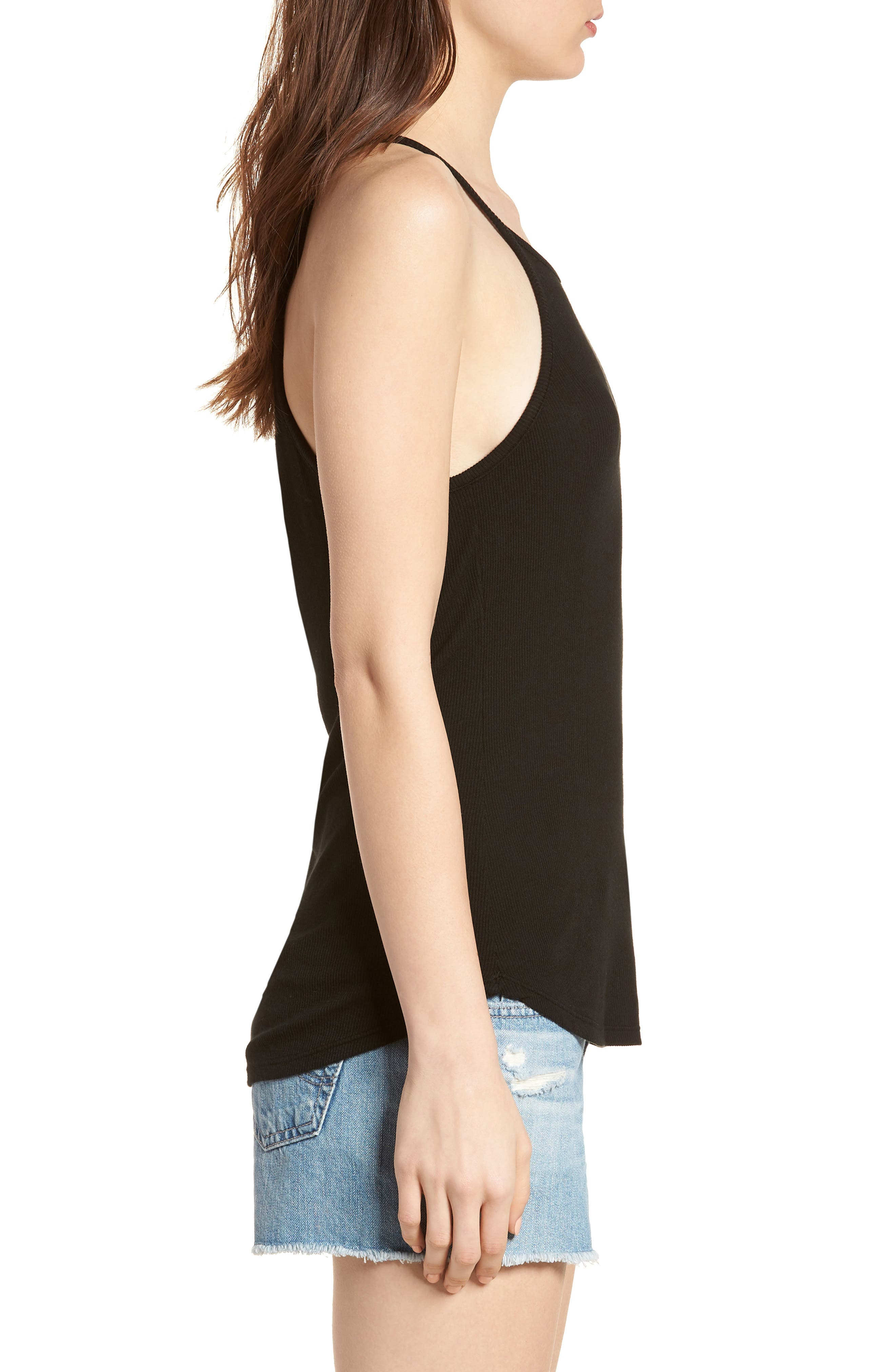 Ribbed Halter Tank,                             Alternate thumbnail 3, color,                             BLACK