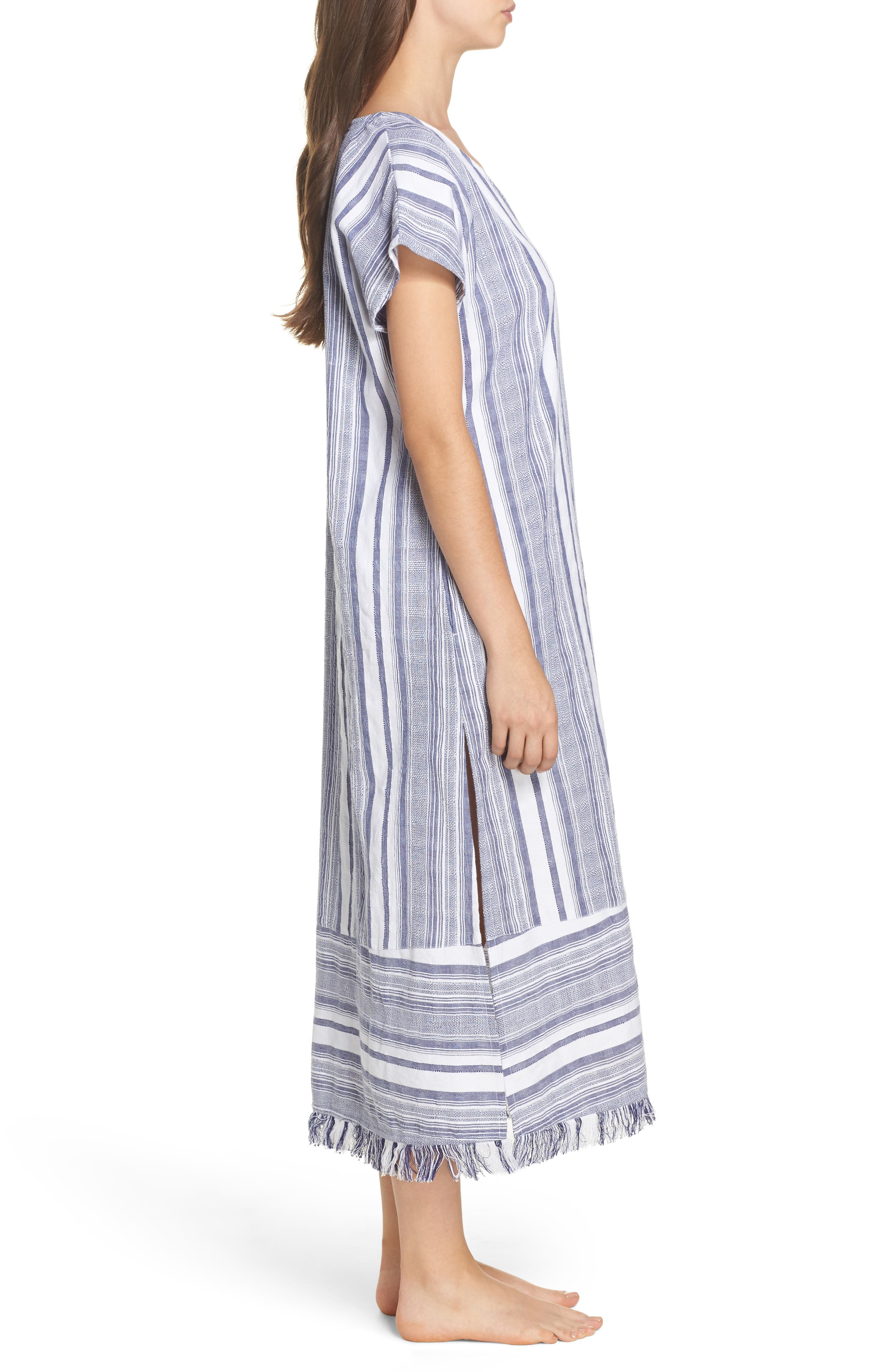 Yarn Dye Stripe Cover-Up Dress,                             Alternate thumbnail 3, color,                             100