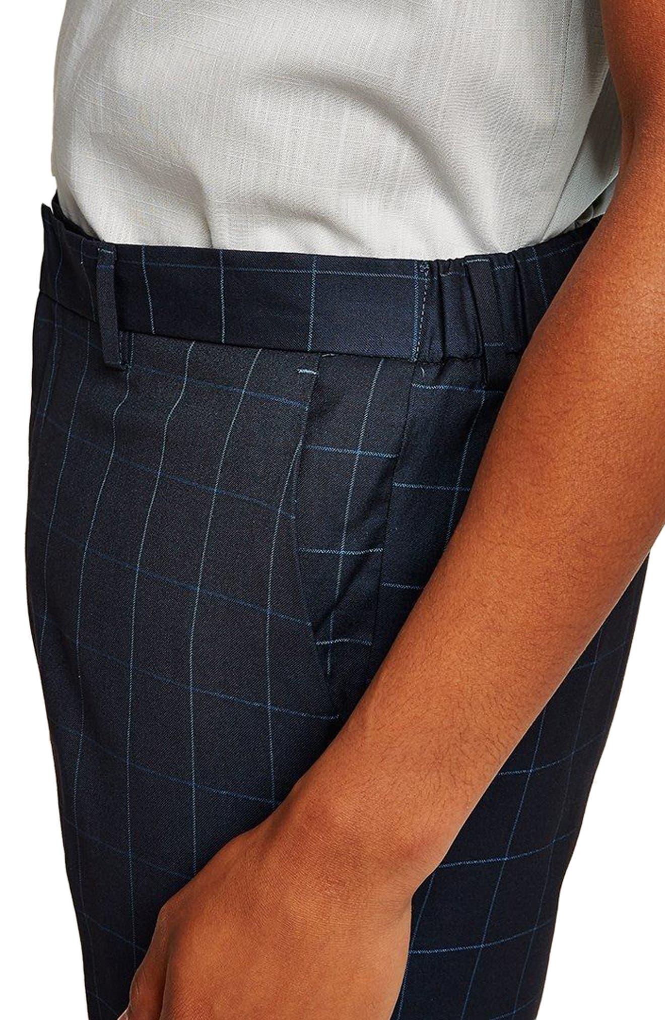 Slim Fit Grid Check Crop Pants,                             Alternate thumbnail 3, color,                             NAVY BLUE