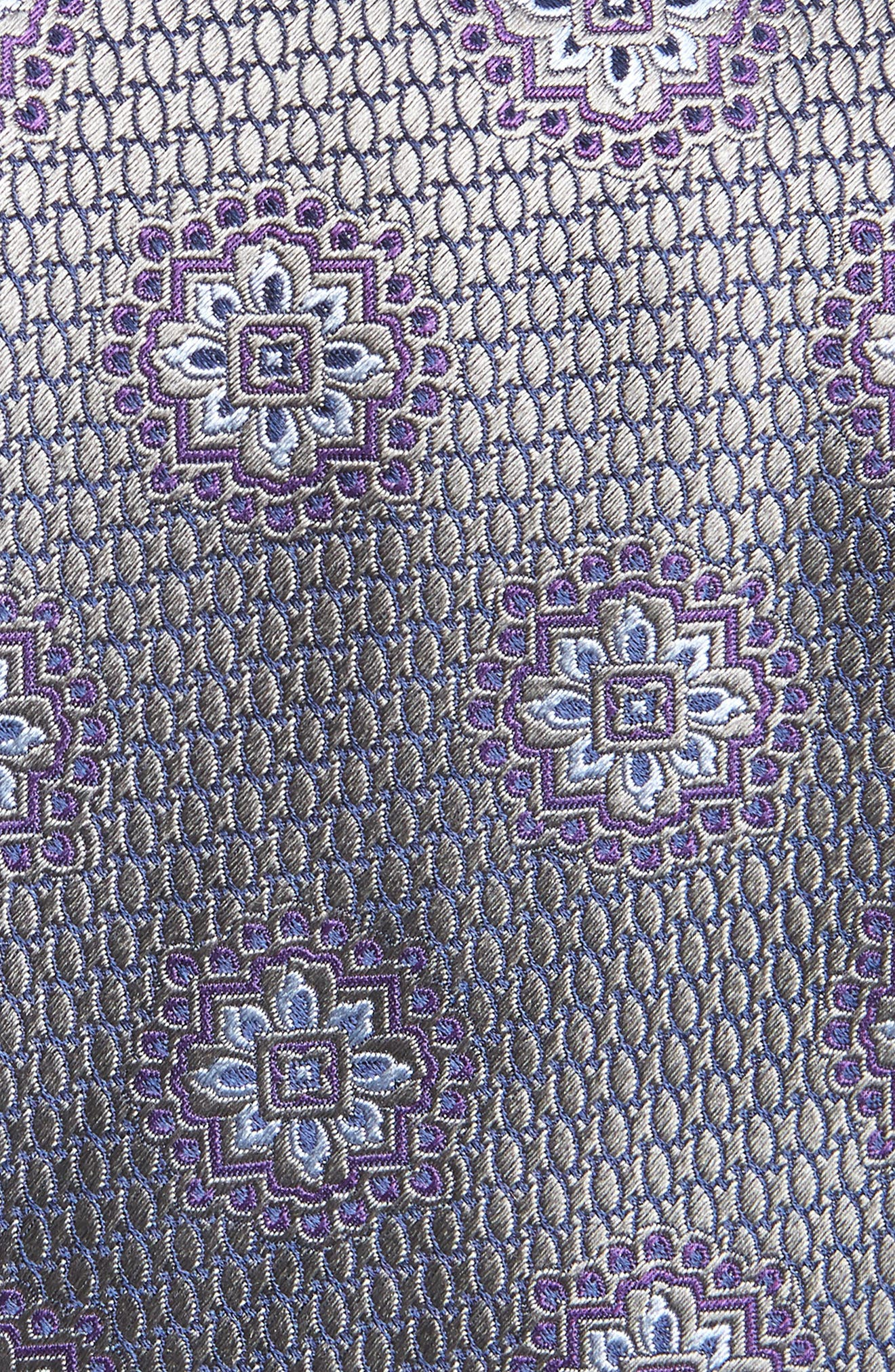 Medallion Silk Tie,                             Alternate thumbnail 2, color,                             GREY