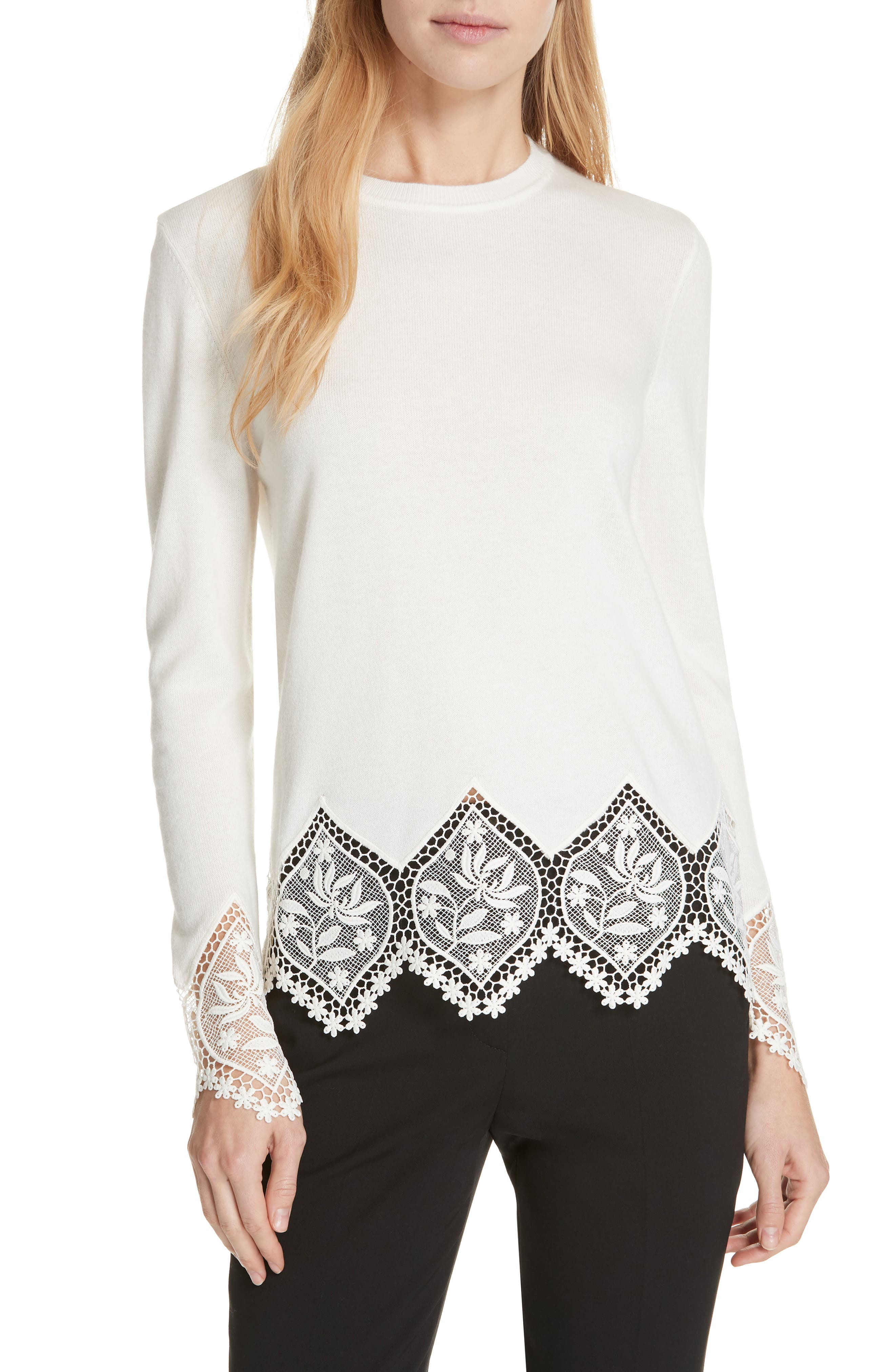 Aylex Lace Detail Wool Cashmere Blend Sweater,                         Main,                         color, CREAM