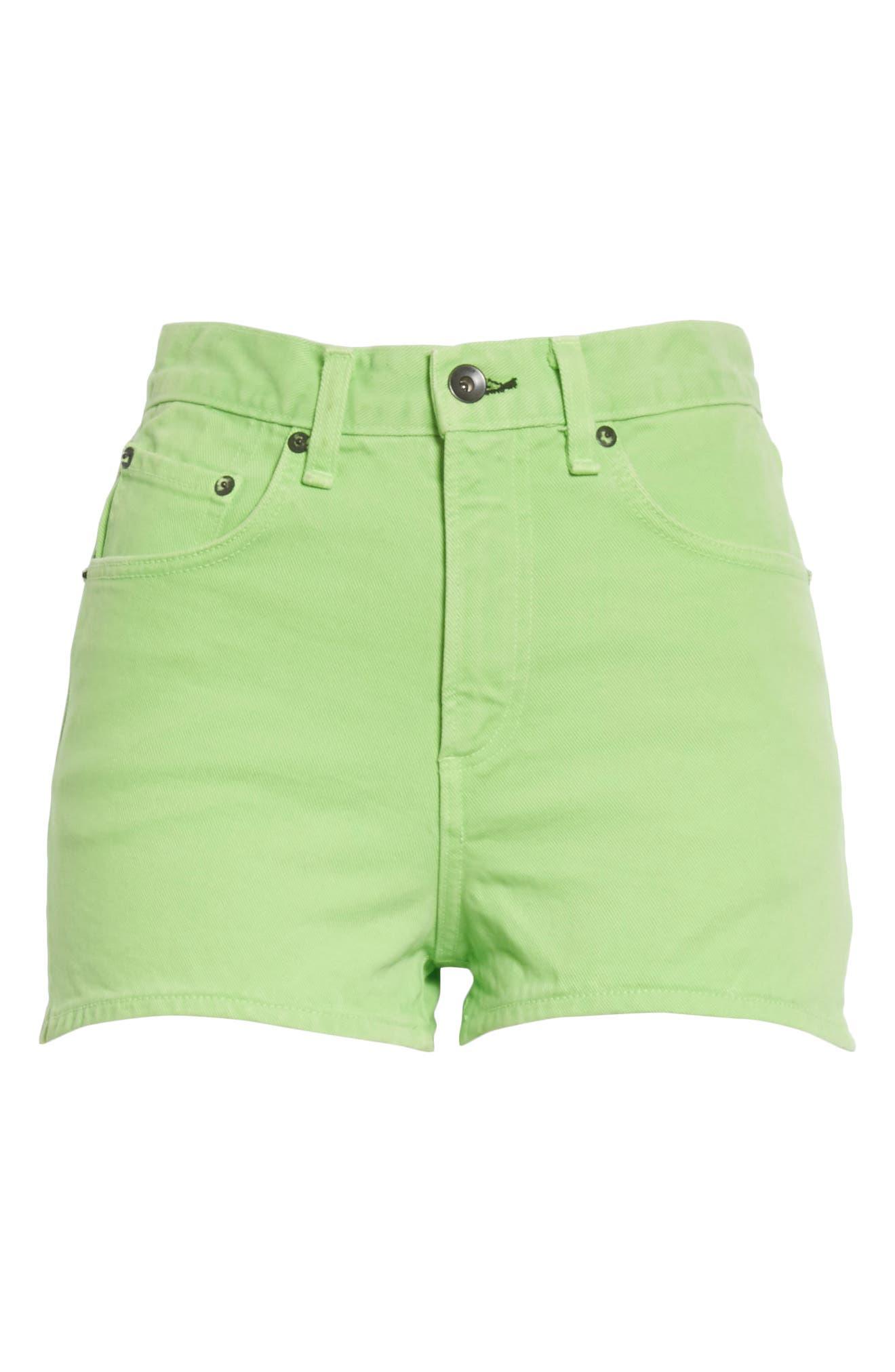Justine High Waist Denim Shorts,                             Alternate thumbnail 6, color,                             371