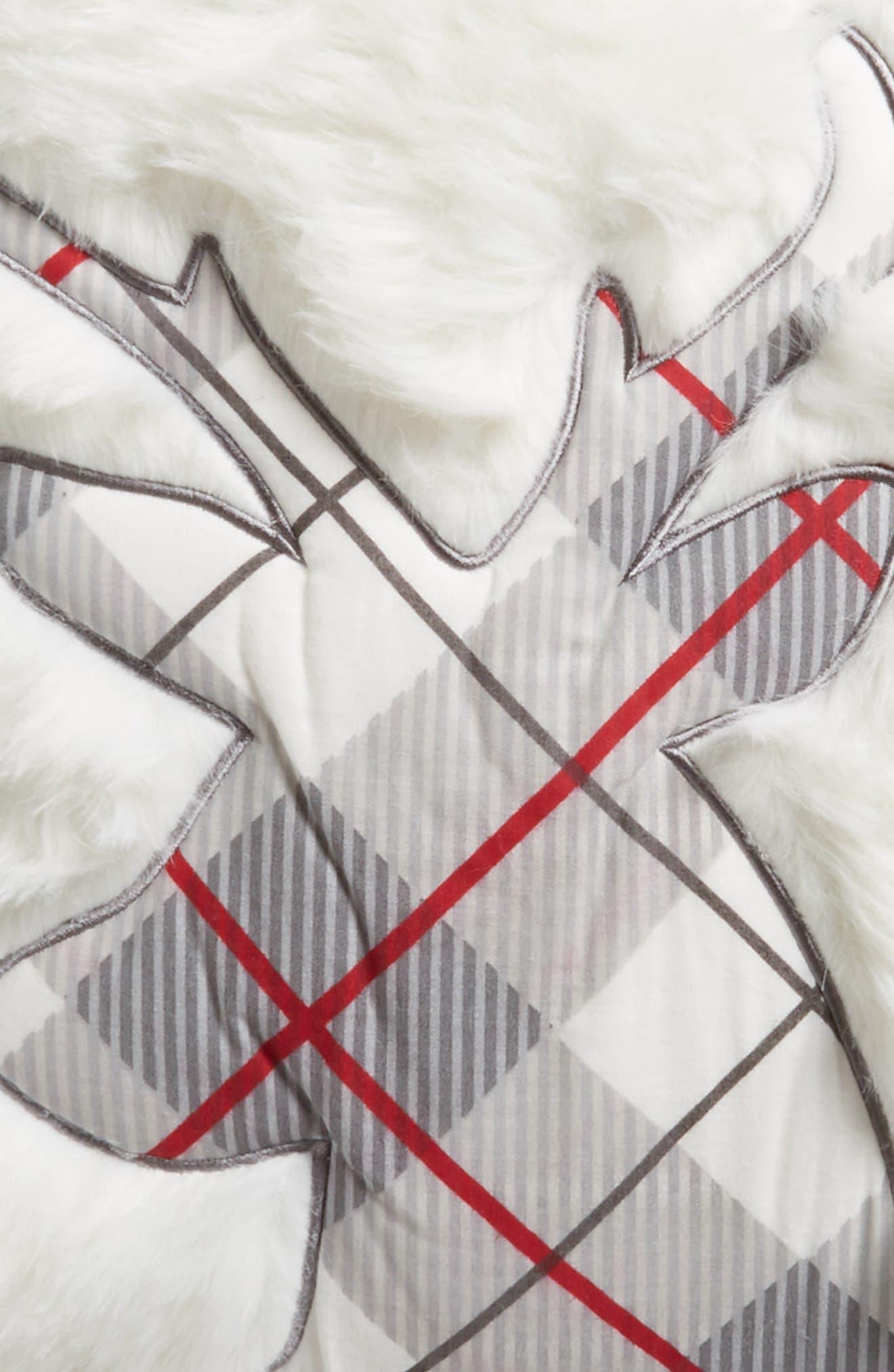 Plaid Reindeer Pillow,                             Alternate thumbnail 3, color,                             100
