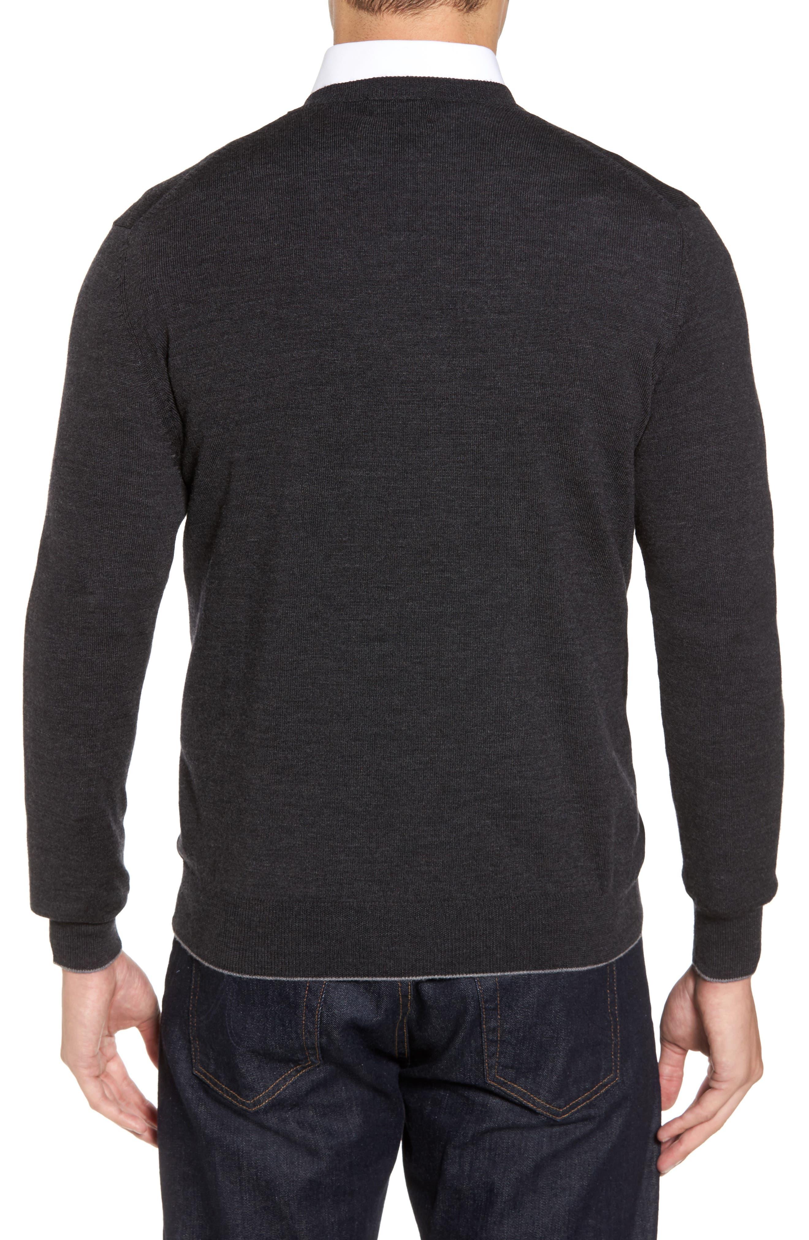 Merino Wool Blend V-Neck Sweater,                             Alternate thumbnail 2, color,                             020